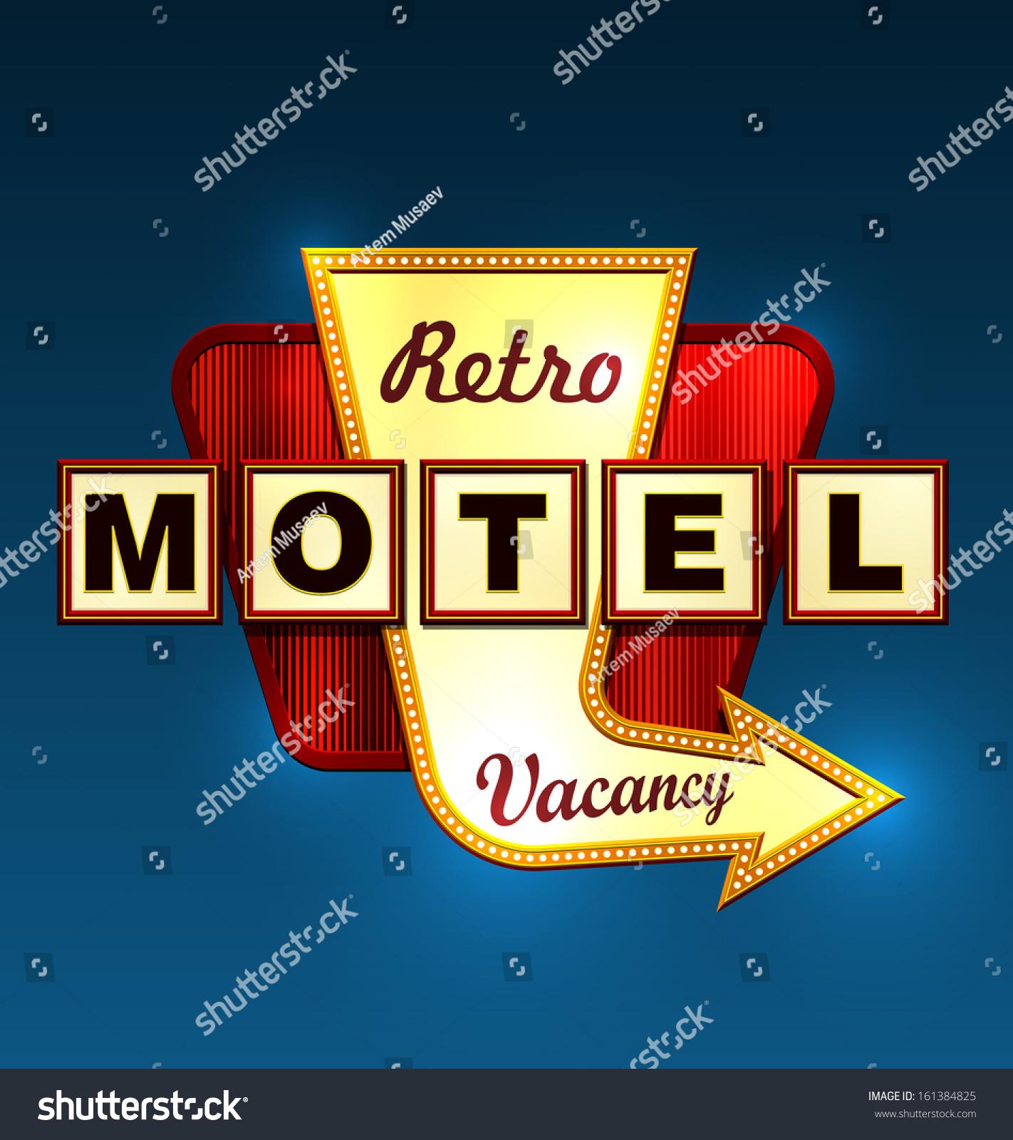 Retro Motel Road Sign Arrow Eps10 Stock Vector 161384825
