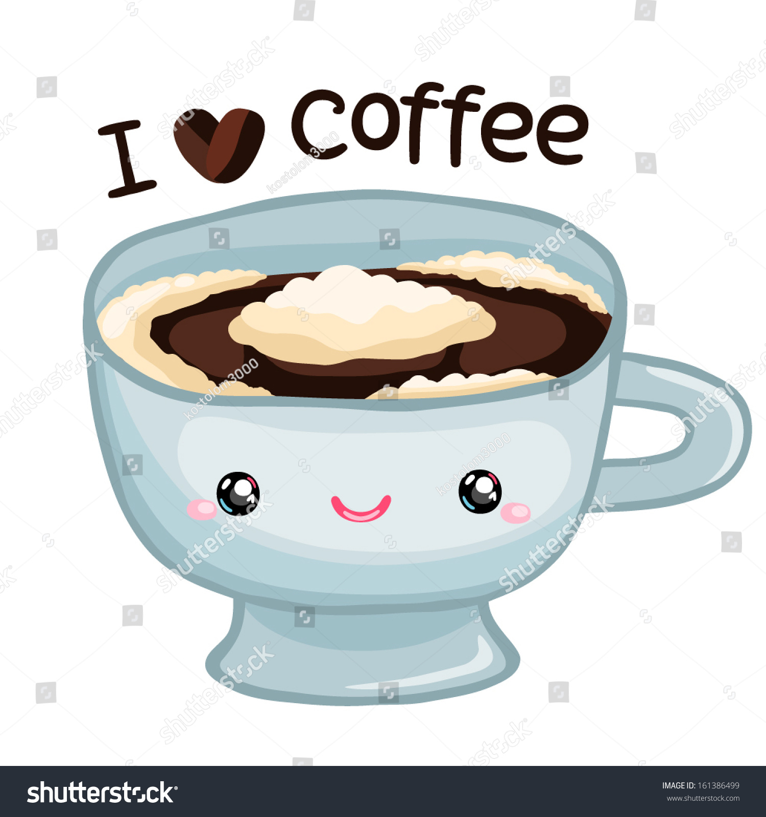 Cute Cartoon Coffee Cup Stock Vector 161386499 Shutterstock