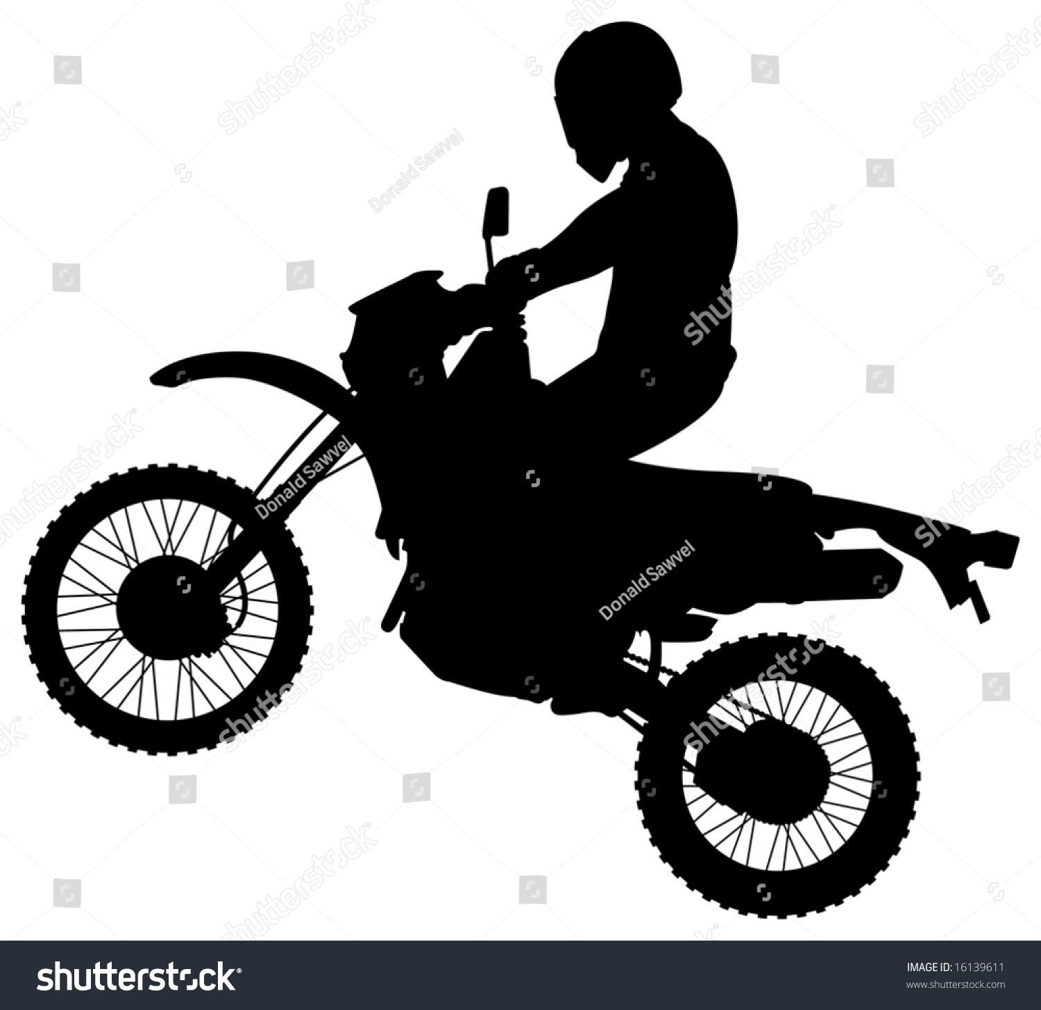 man  jumping dirt bike silhouette stock vector  shutterstock
