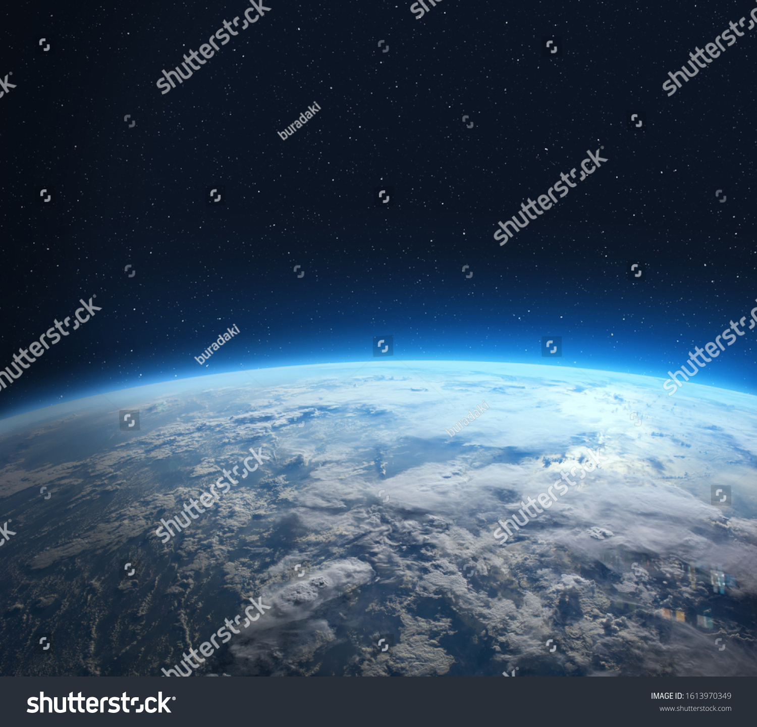 Blue Earth in the space. View of planet Earth from space. Elements of this image furnished by NASA. #1613970349