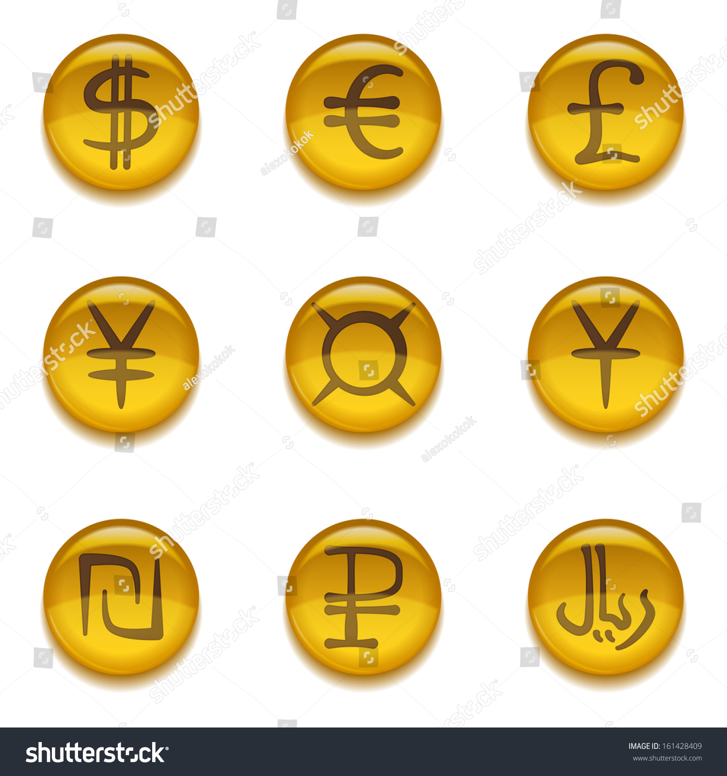 Golden money buttons icons currency signs stock vector 161428409 golden money buttons icons with currency signs set dollar euro pound buycottarizona Choice Image