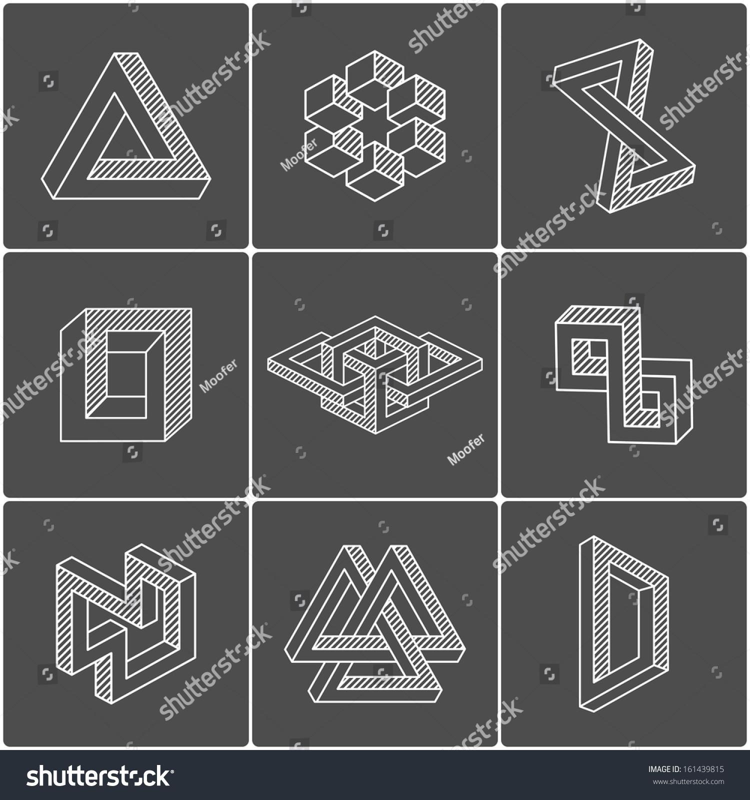 Geometric Optical Illusion Shapes Logo Identity Stock ...  Optical Illusion Logo