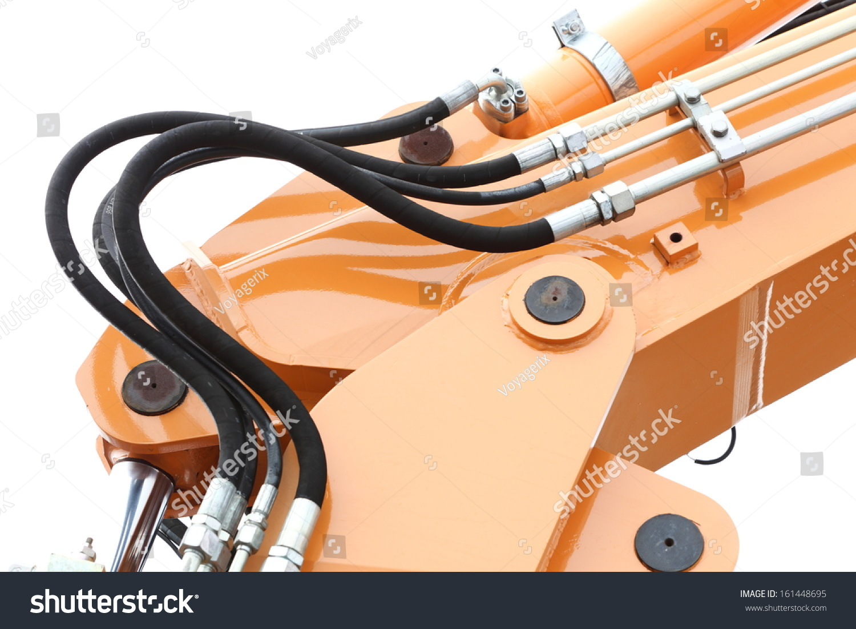 detail hydraulic bulldozer excavator arm construction stock photo