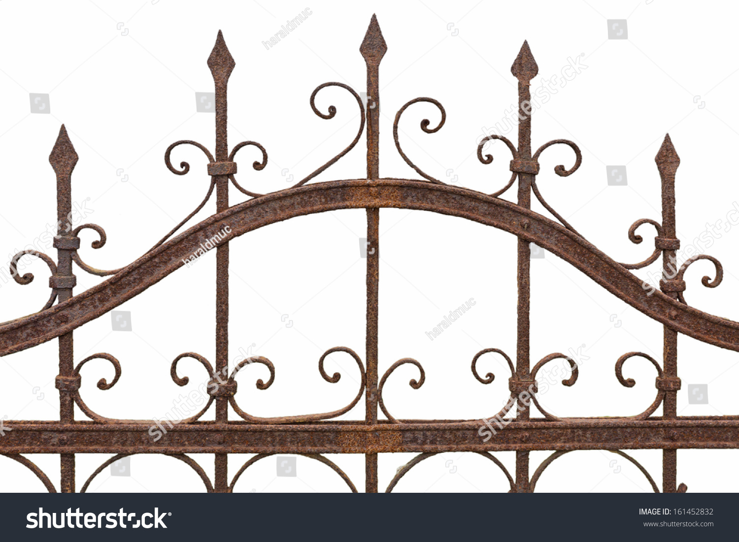 Rusted wrought iron fence on white stock photo