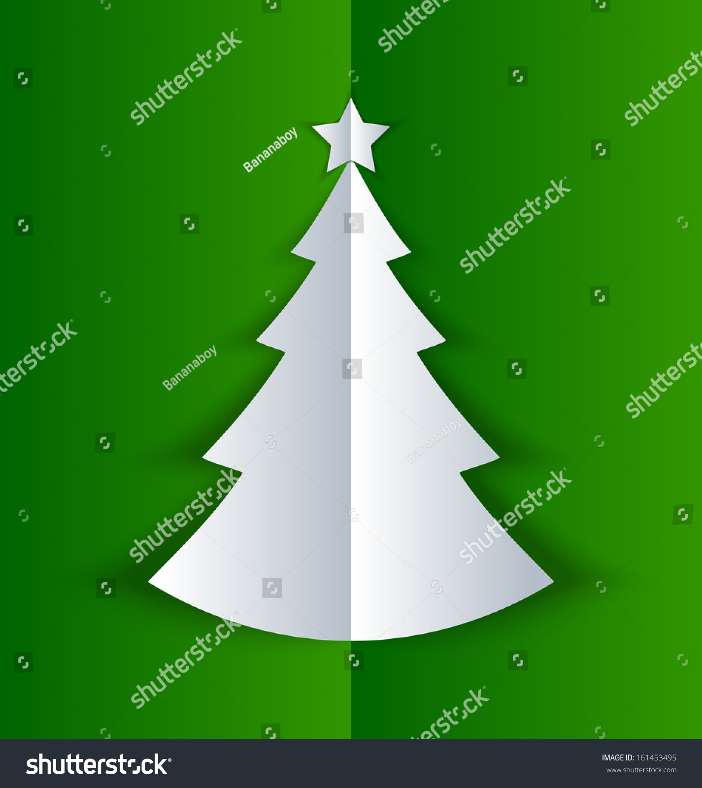 Simple Christmas Tree Made Of Folded Paper With Shadow On Green Background