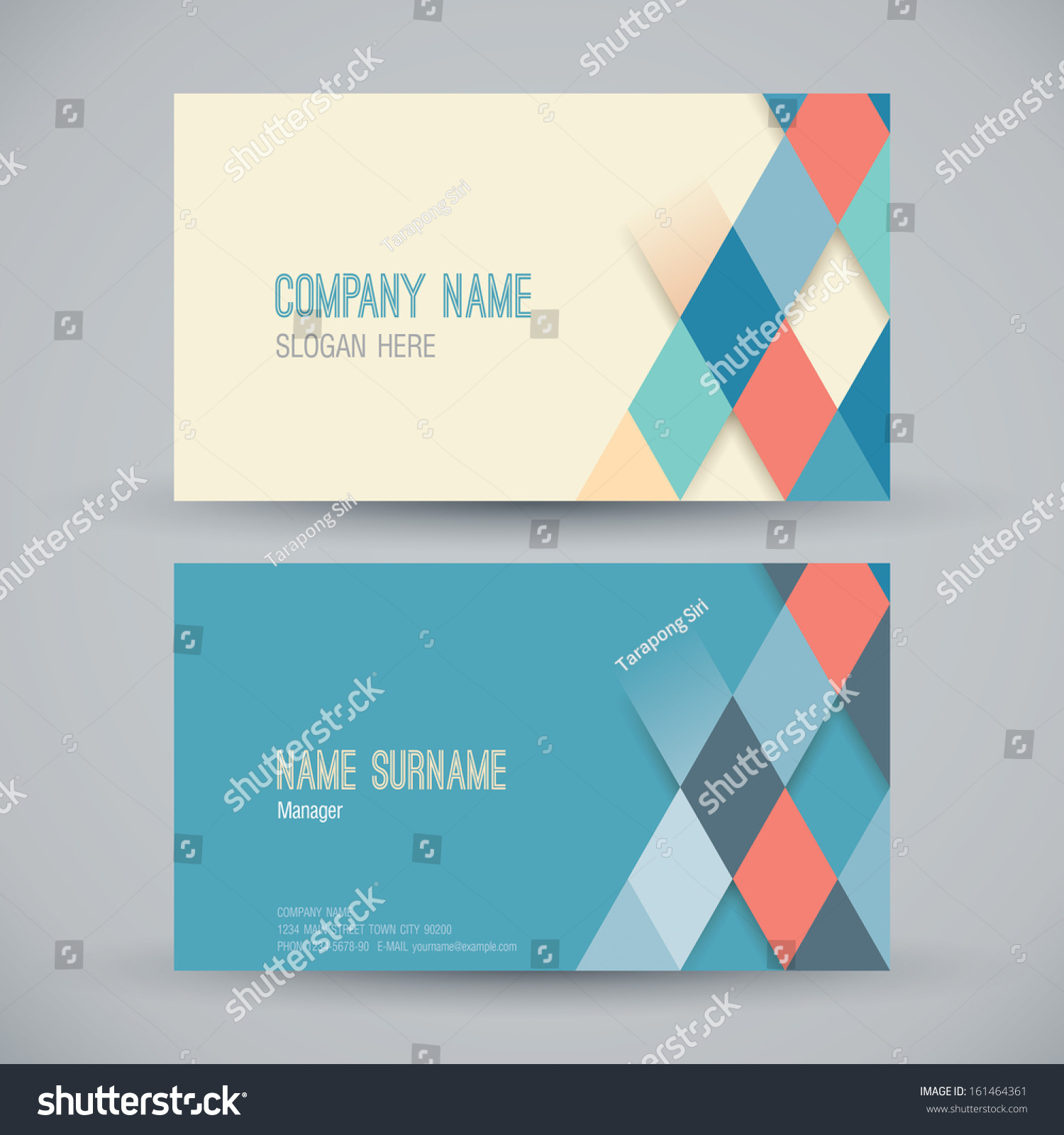 Name Card Design Template Business Card Stock Vector 161464361 ...
