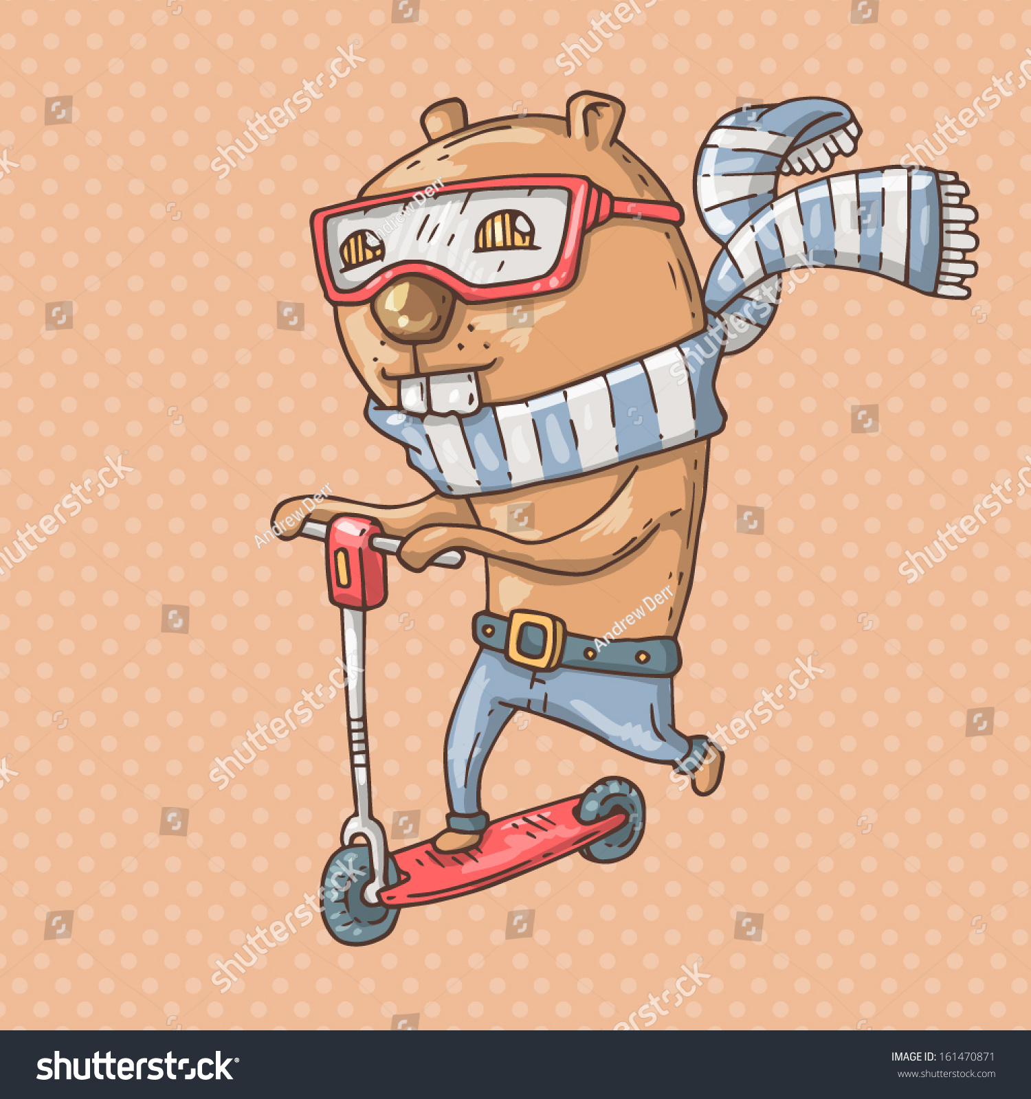Beaver On Scooter Stock Vector (Royalty Free) 161470871 - Shutterstock