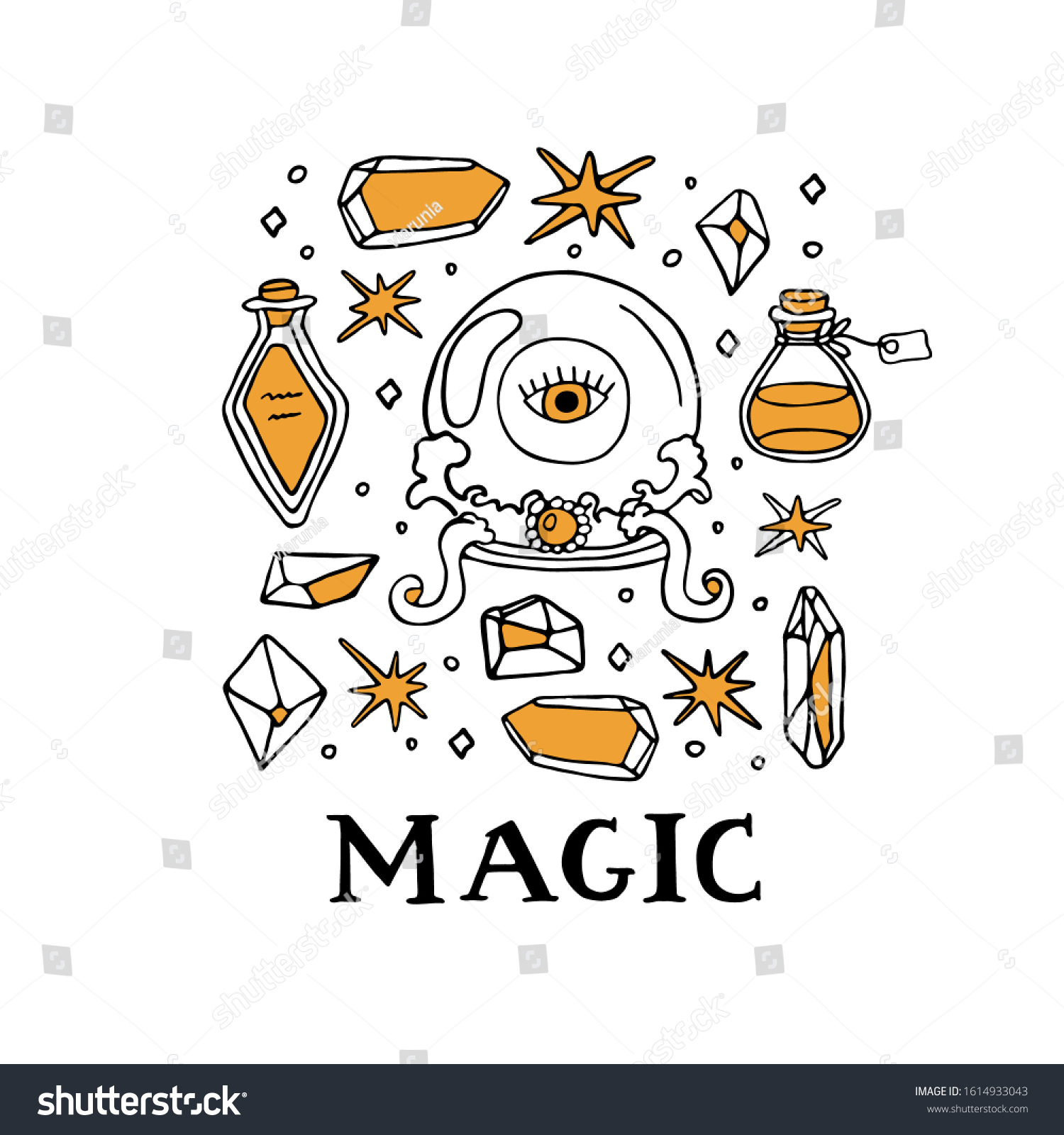 Wiccan Symbols Set Magic Inscription Lettering Stock Vector Royalty Free 1614933043