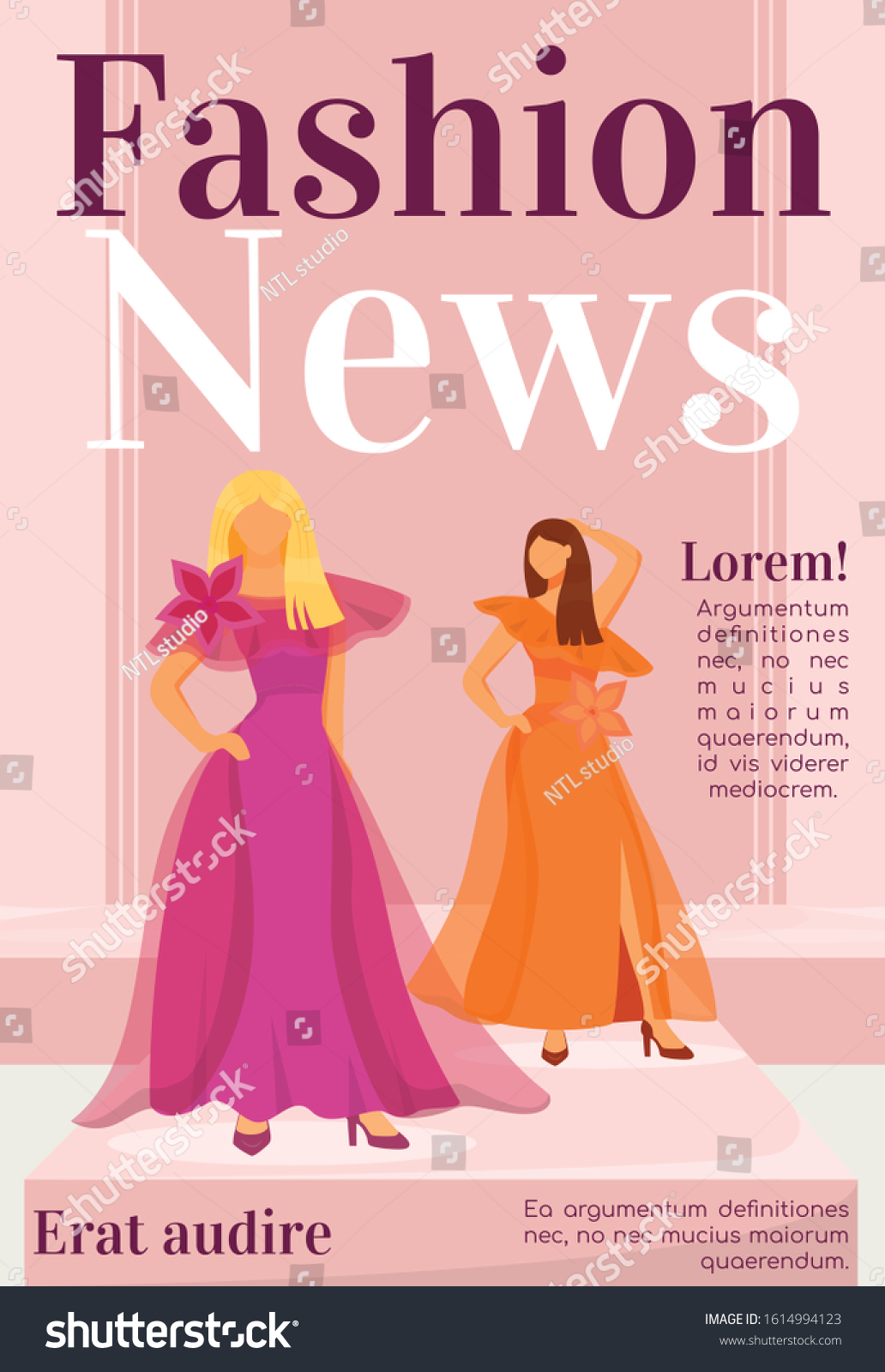 Fashion News Magazine Cover Template Designer Stock Vector Royalty Free 1614994123