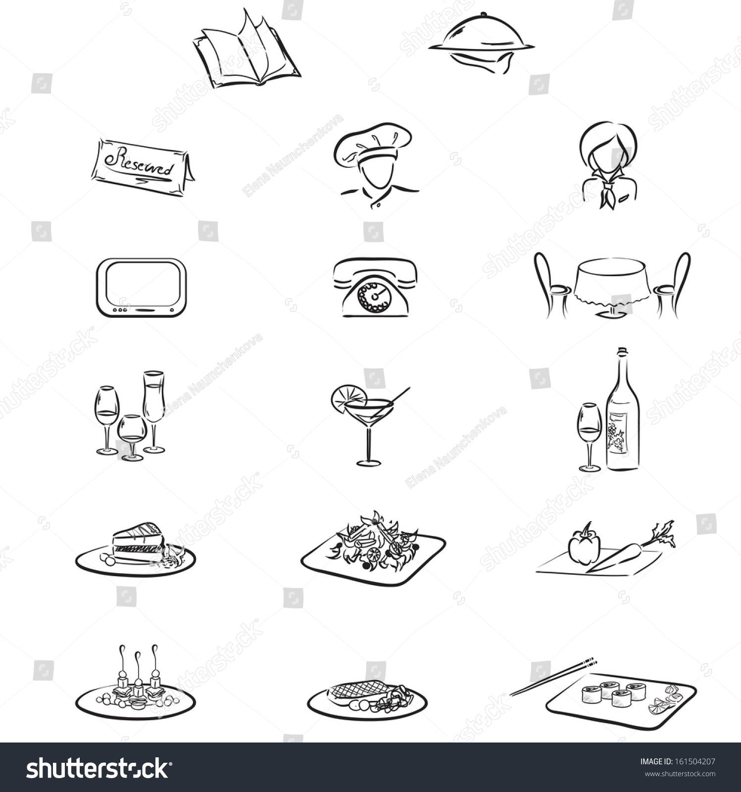 Icons Chef Waitress Menu Table Chairs Stock Vector