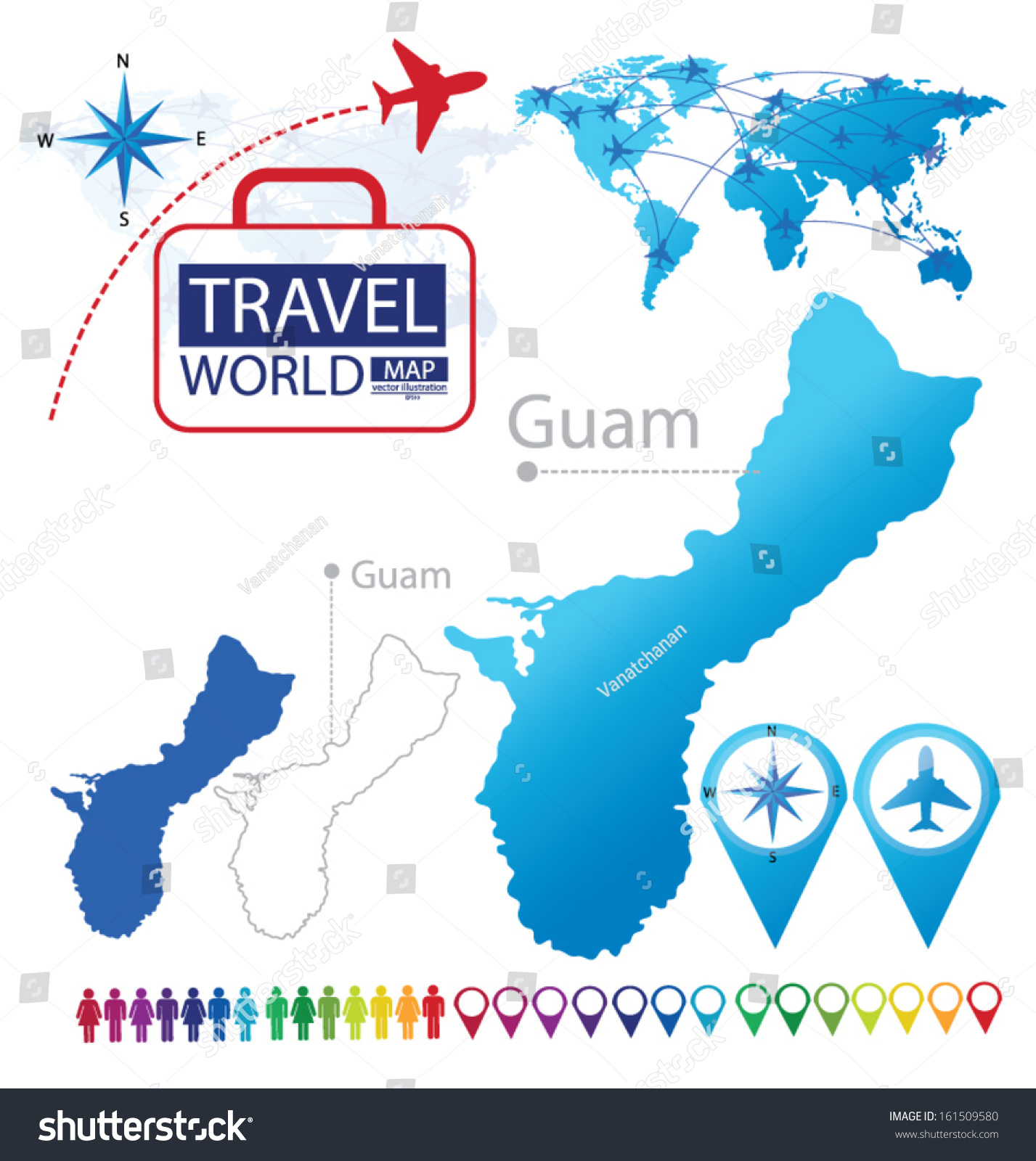Guam world map travel vector illustration stock vector 161509580 guam world map travel vector illustration stock vector 161509580 shutterstock gumiabroncs Choice Image