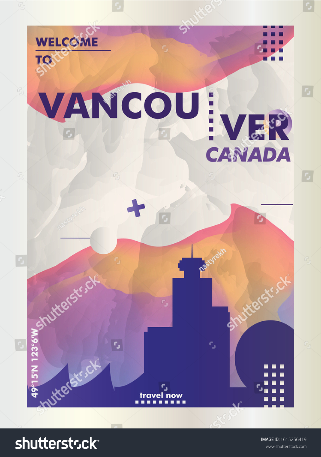 Modern Canada Vancouver Skyline Abstract Gradient Stock Vector Royalty Free 1615256419