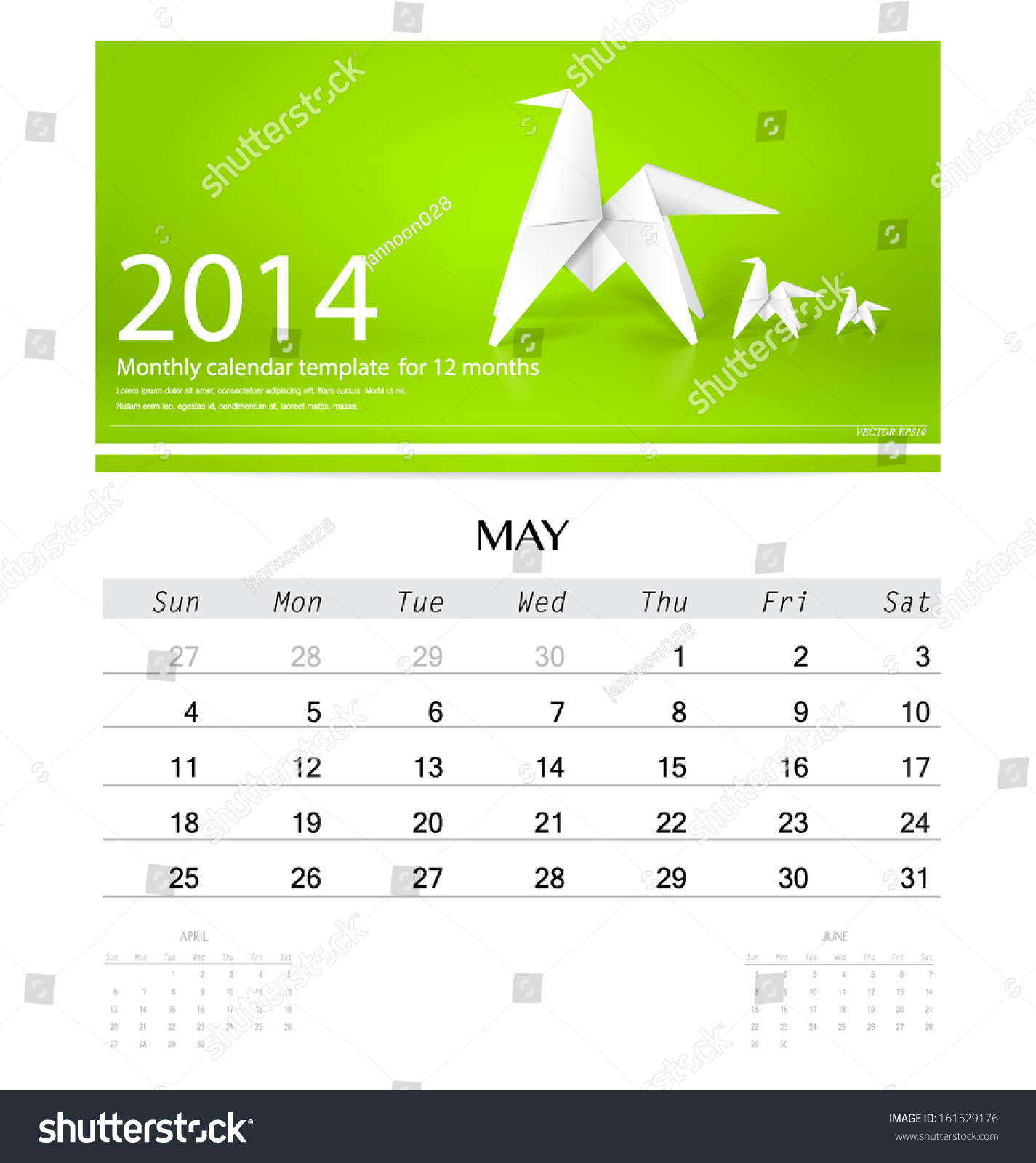 Monthly Calendar Template Vector : Calendar monthly template for may origami