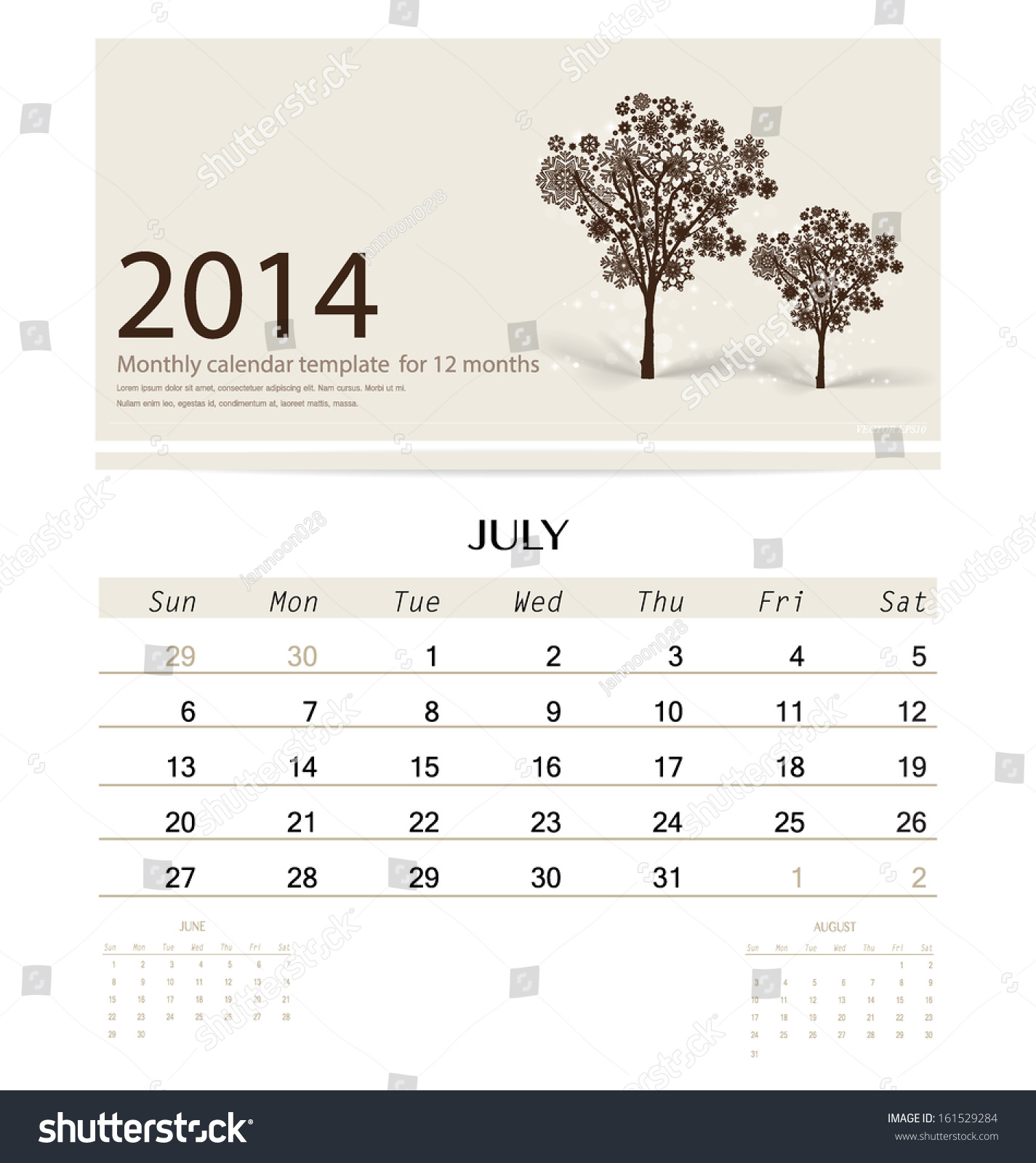Calendar Monthly Design : Calendar monthly template for july