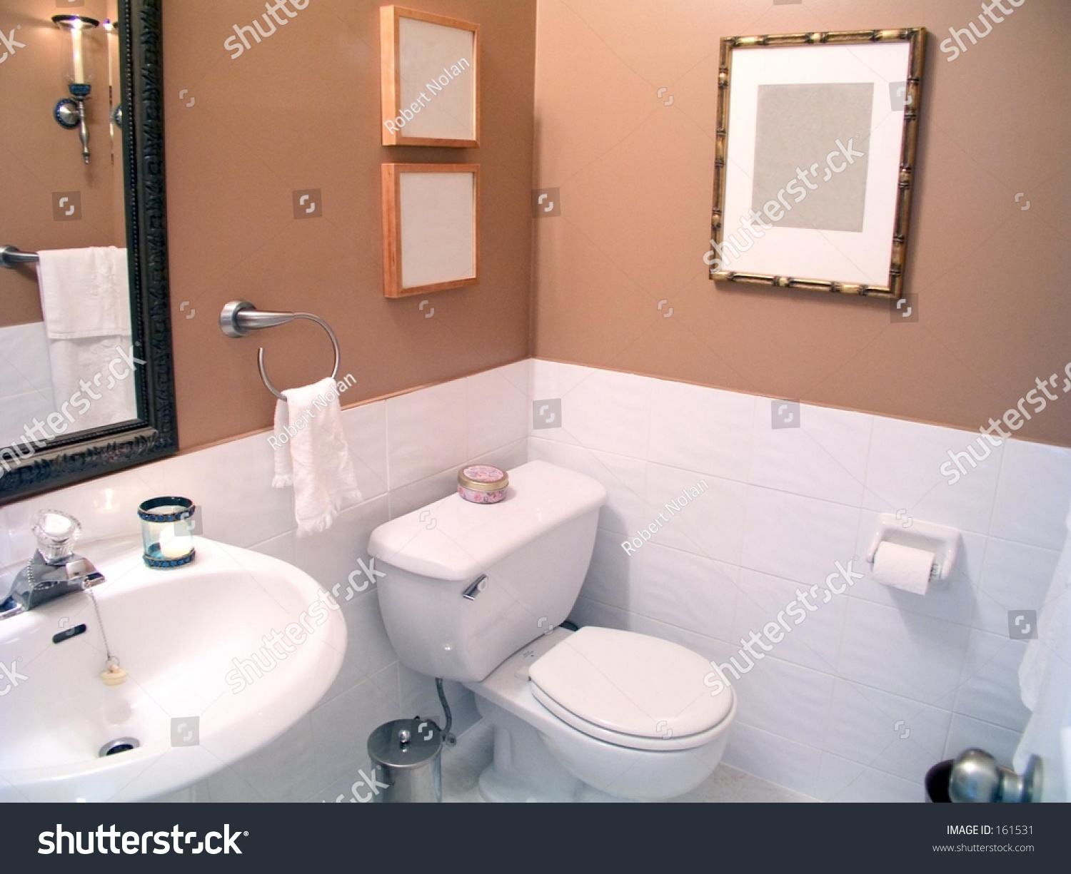 Bathroom With Mirror,White Porcelain Fixtures, Lower White