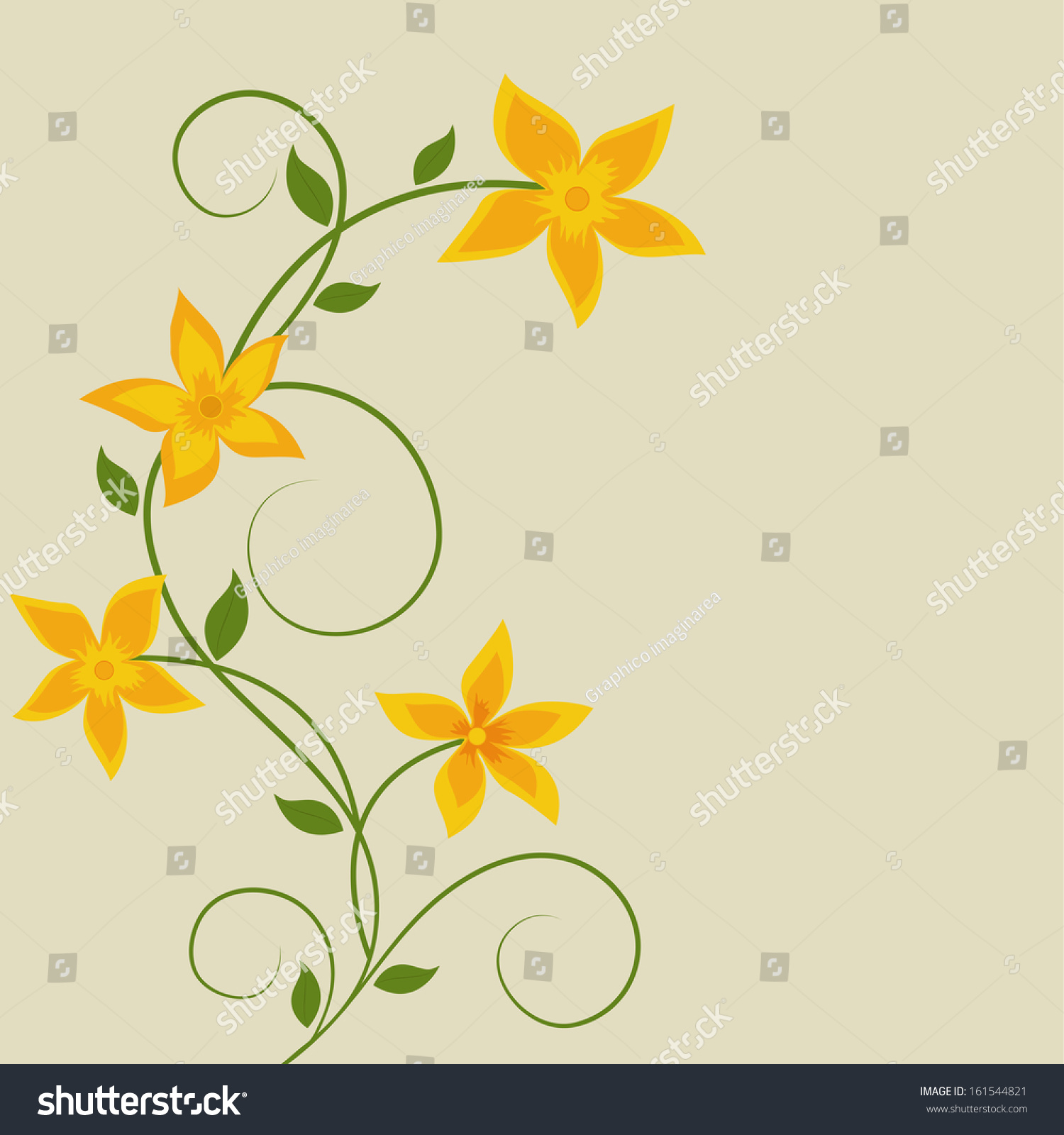 Beautiful Yellow Flower Floral Background Design Eps 10 Stock Vector