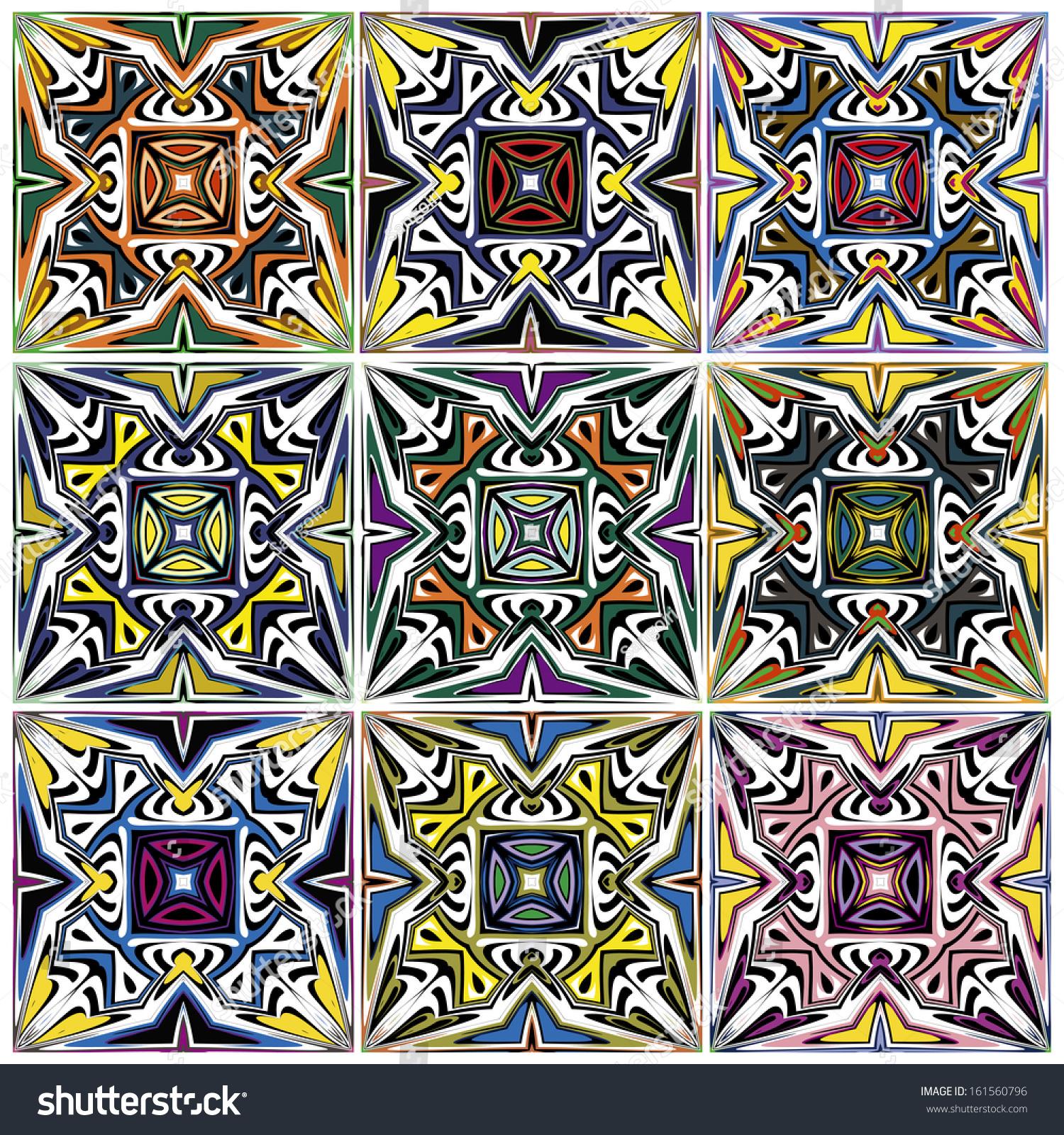 Set Native American Vector Patterns Spiritual Stock Vector 161560796
