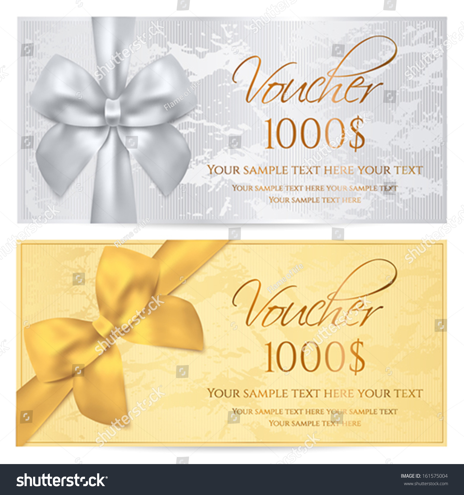 voucher gift certificate coupon template old stock vector voucher gift certificate coupon template old pattern gold bow silver background