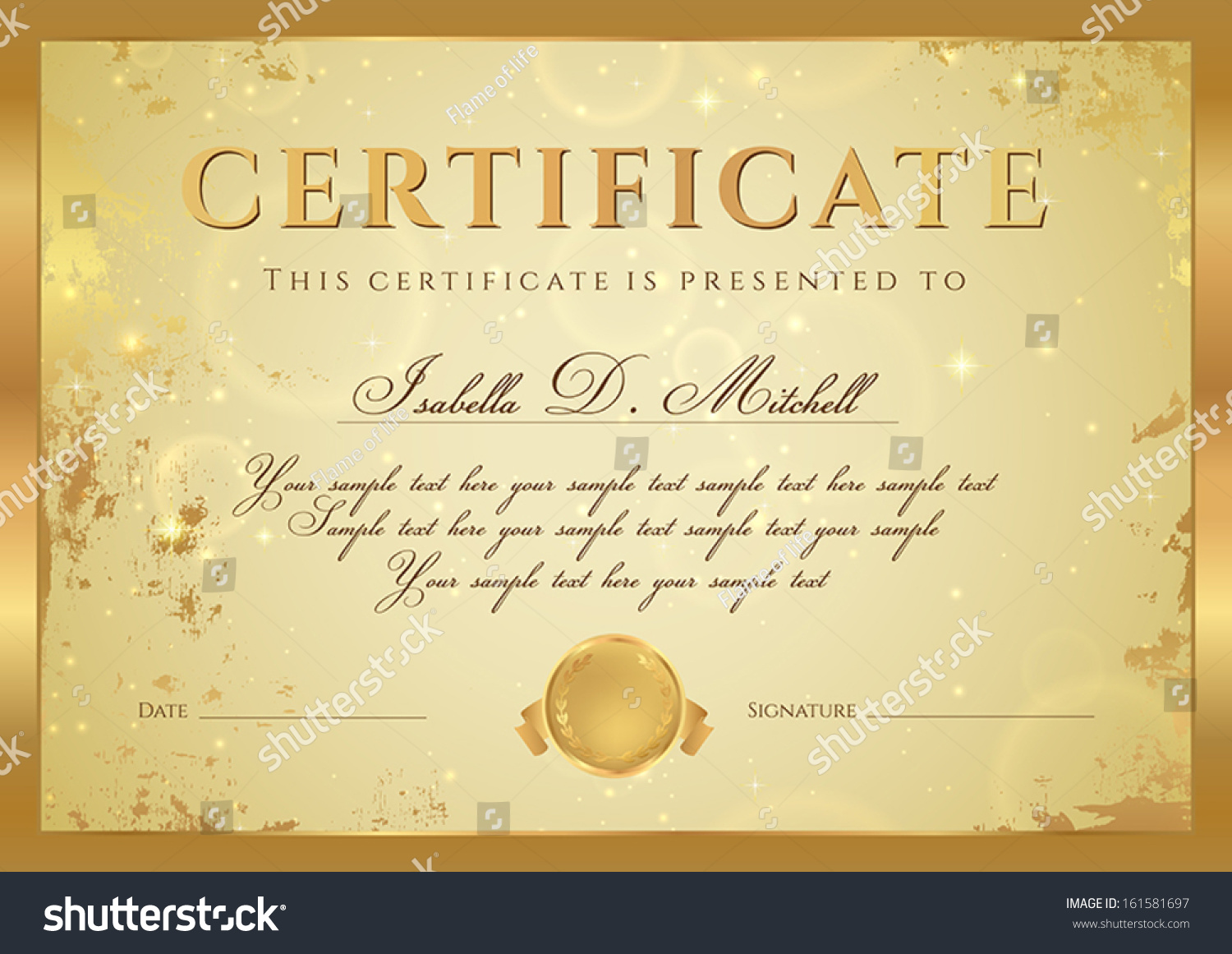 Royalty Free Certificate Of Completion Diploma 161581697 Stock