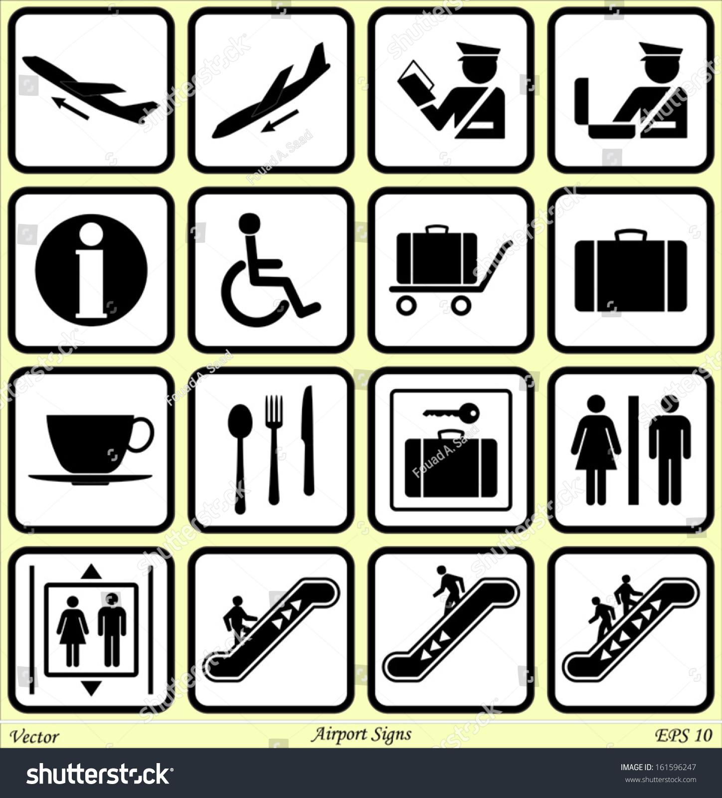 Airport Signs Stock Vector 161596247 - Shutterstock