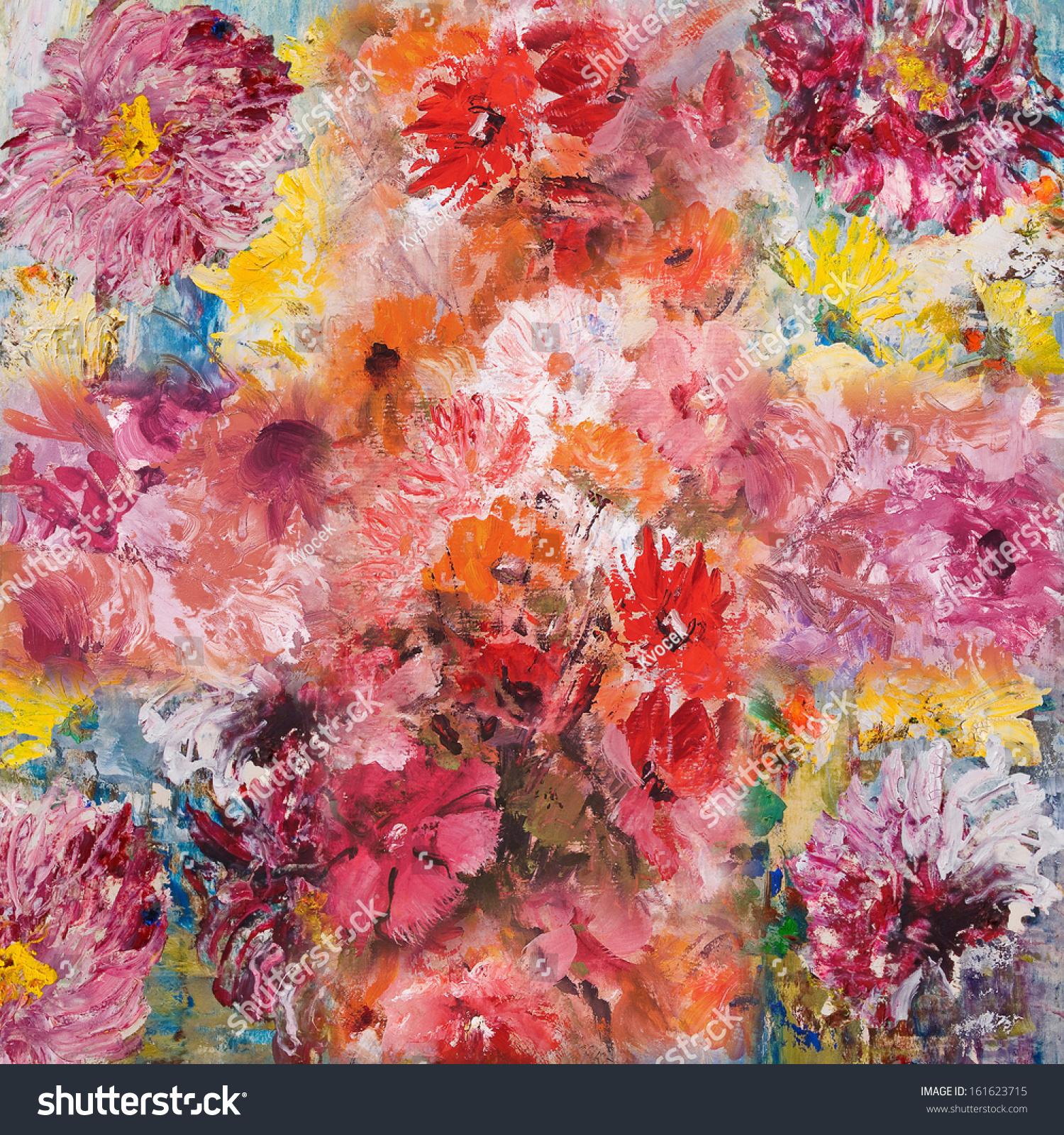 Still Life Flowers Wallpaper Decorative Background Stock
