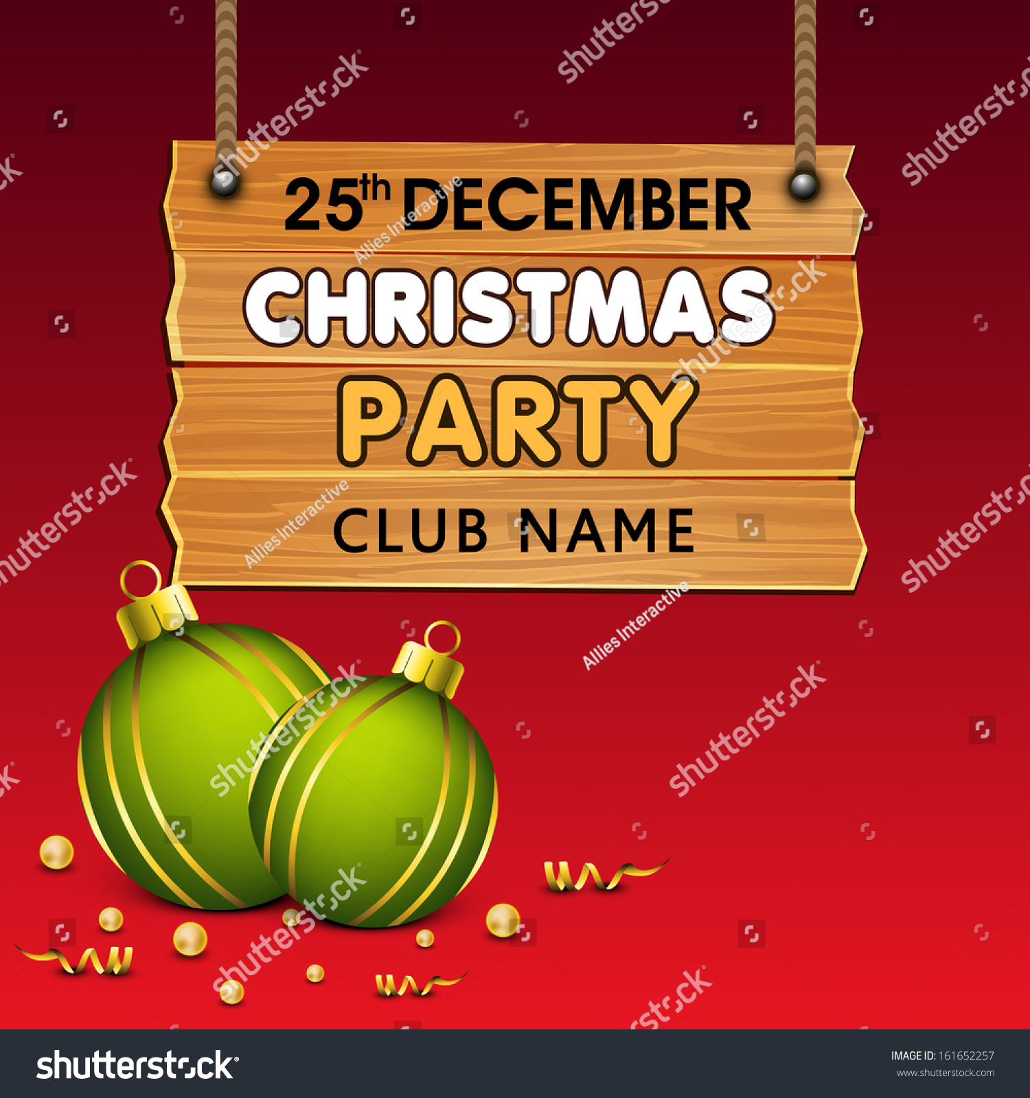 merry christmas party invitation hanging wooden signboard save to a lightbox