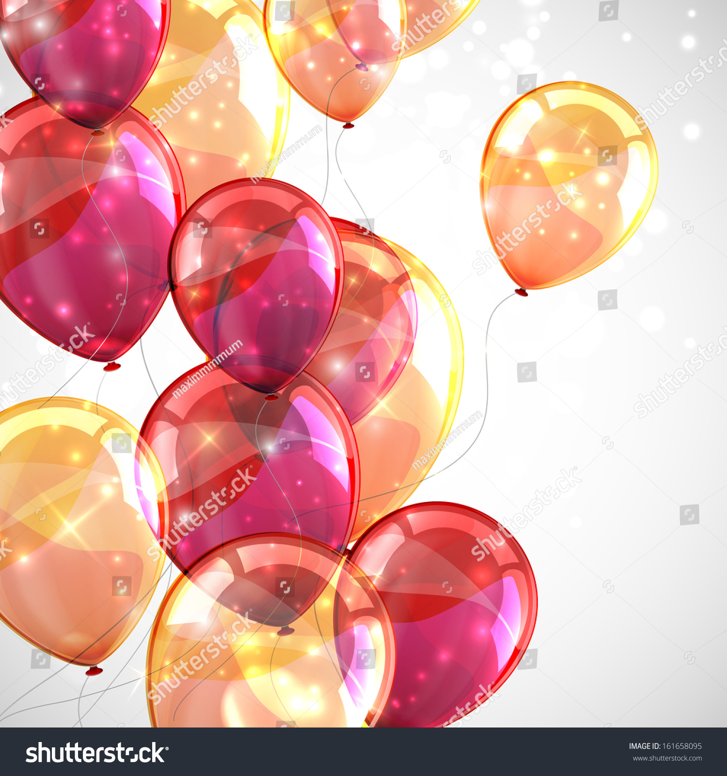 Holiday celebration background with shiny colored balloons ...