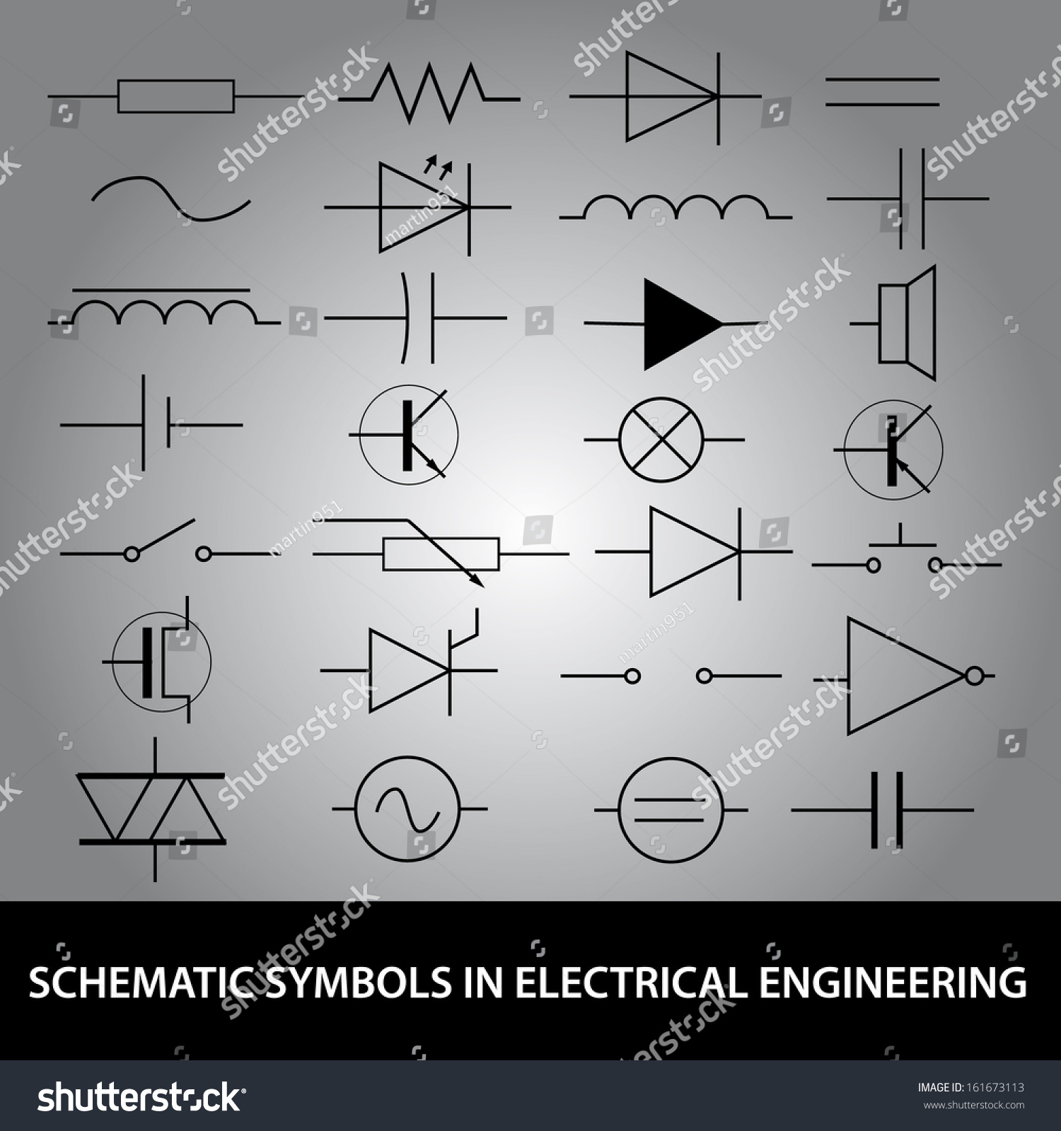 Schematic Symbols Electrical Engineering Icon Set Stock Vector ...