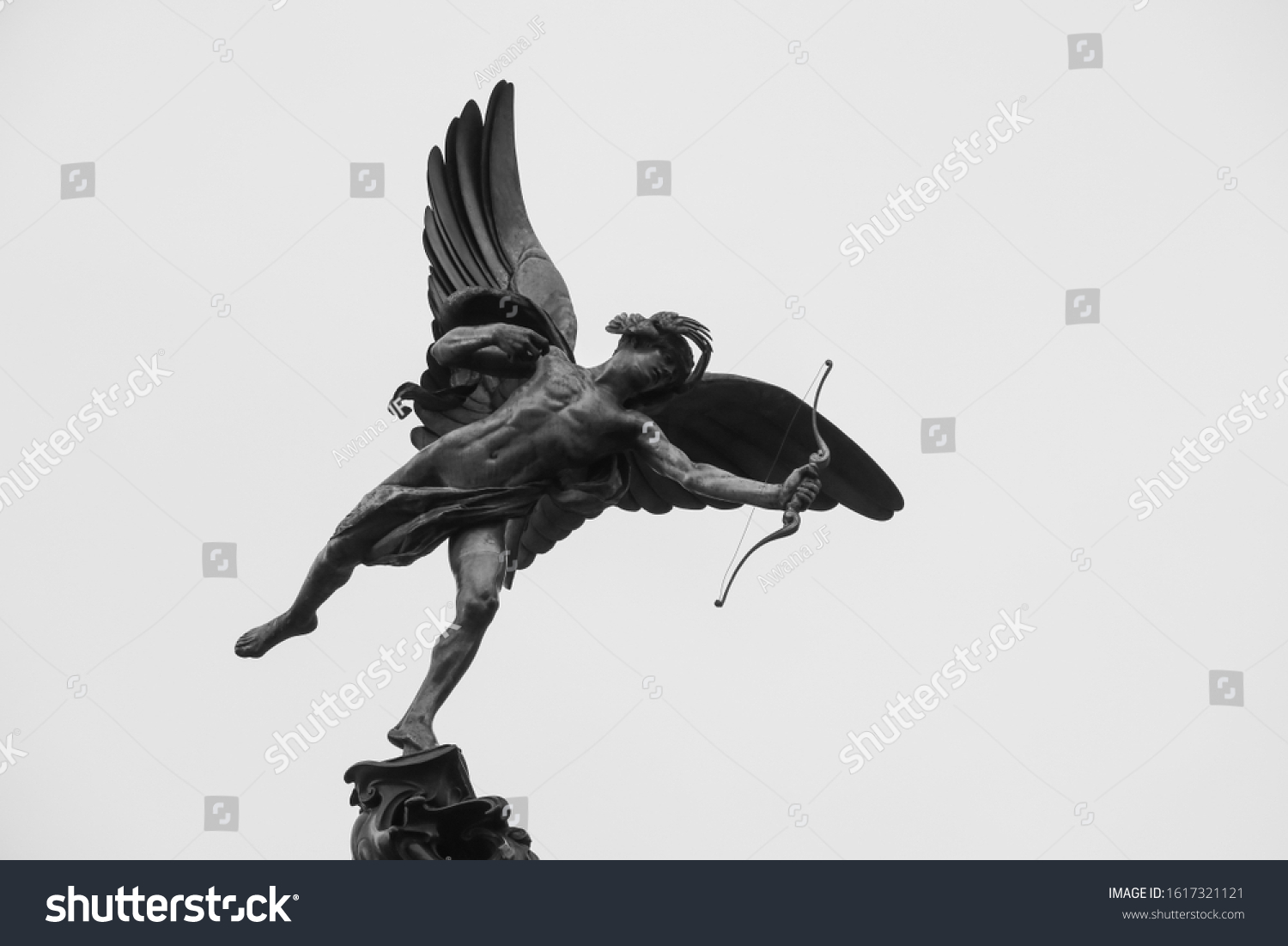 London, England - january 2020 : close up of Anteros winged statue, on the Shaftesbury Memorial Fountain located at the southeastern side of Piccadilly Circus