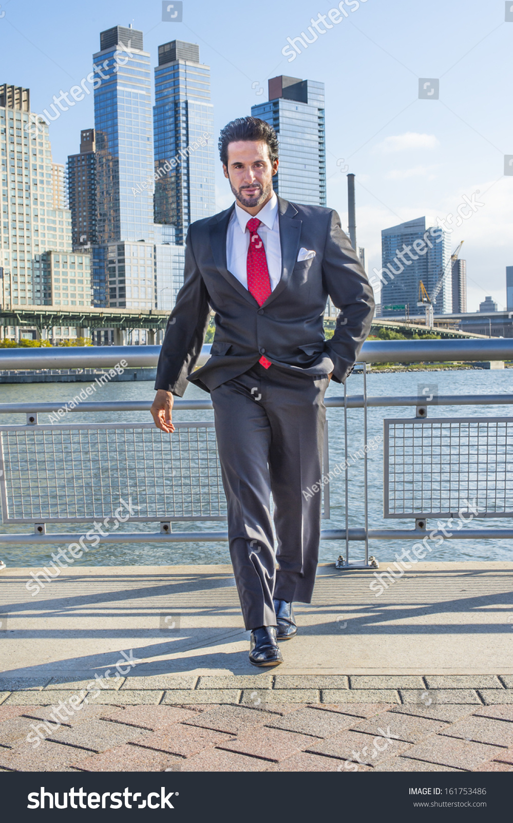 Dressing Black Suit Red Tie Handsome Stock Photo (Royalty Free ...