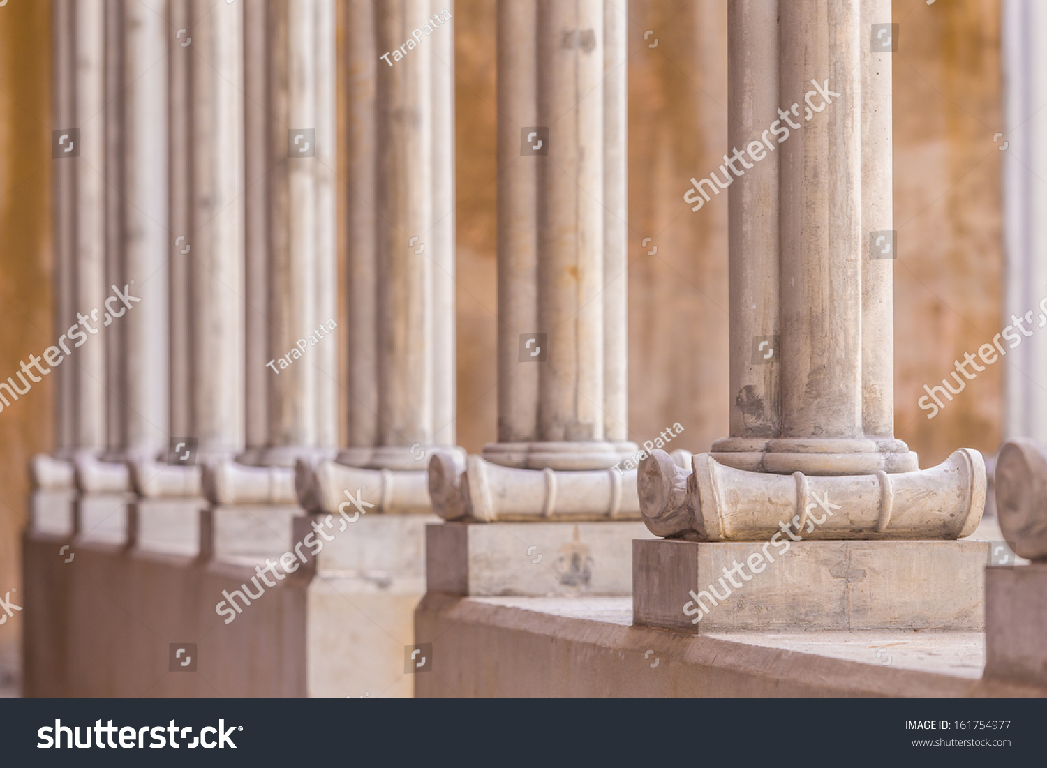 Ready Made Concrete : Ready made instant concrete pillars line up stock photo
