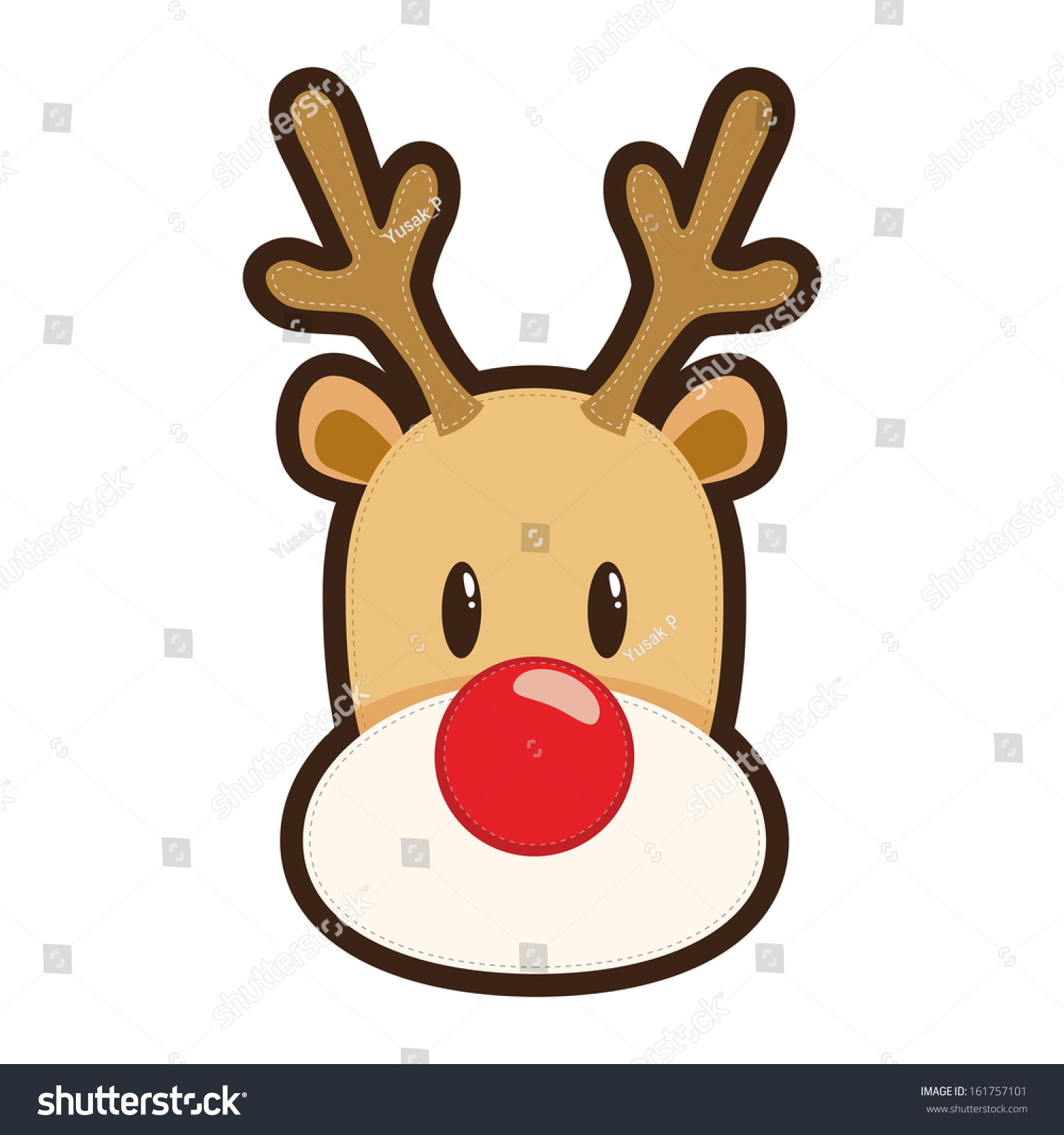 ... Of A Face Of Rudolf Red Nosed Reindeer - 161757101 : Shutterstock