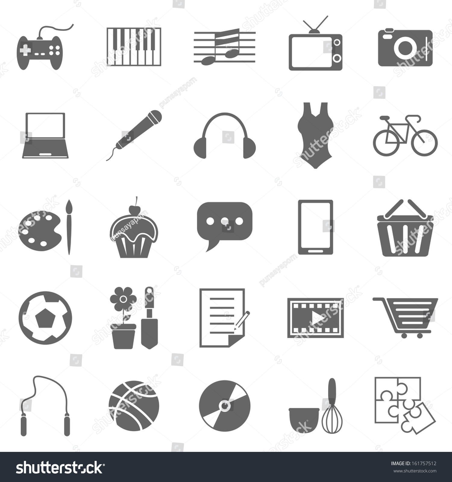 retail and ecommerce theme black and white icons  hobby icons on white background stock vector