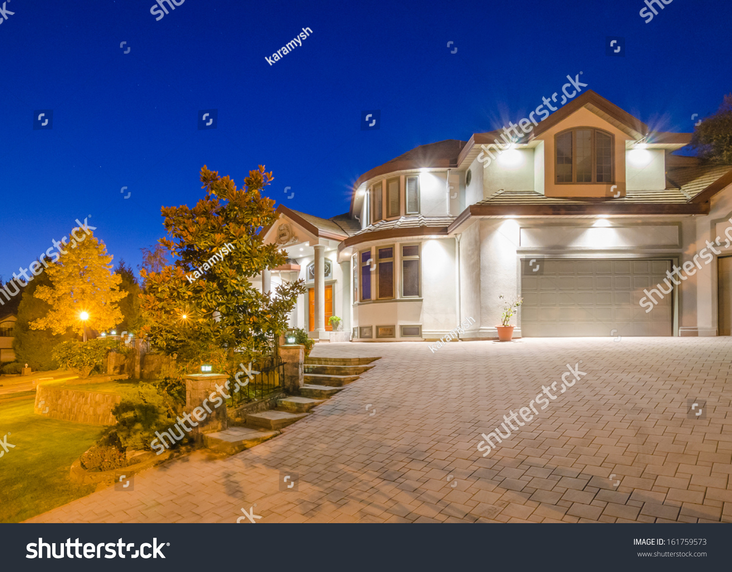 Luxury House At Night In Vancouver Canada
