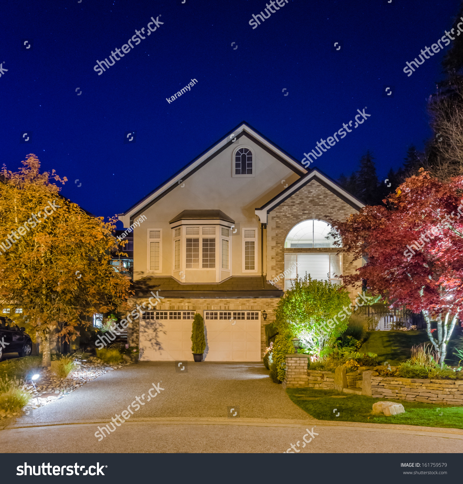 Luxury House At Night In Vancouver Canada Stock Photo 161759579