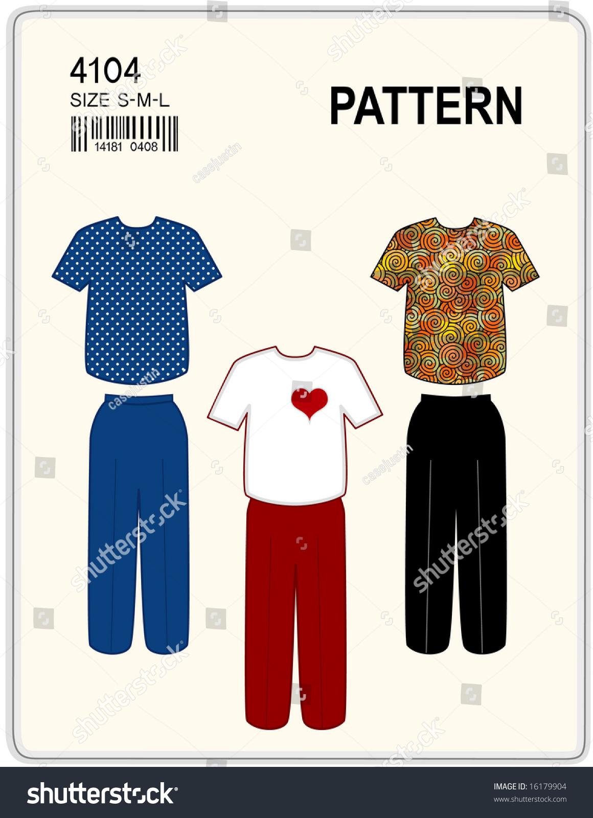 Sewing Pattern T Shirt Pants Women Stock Illustration 16179904 ...
