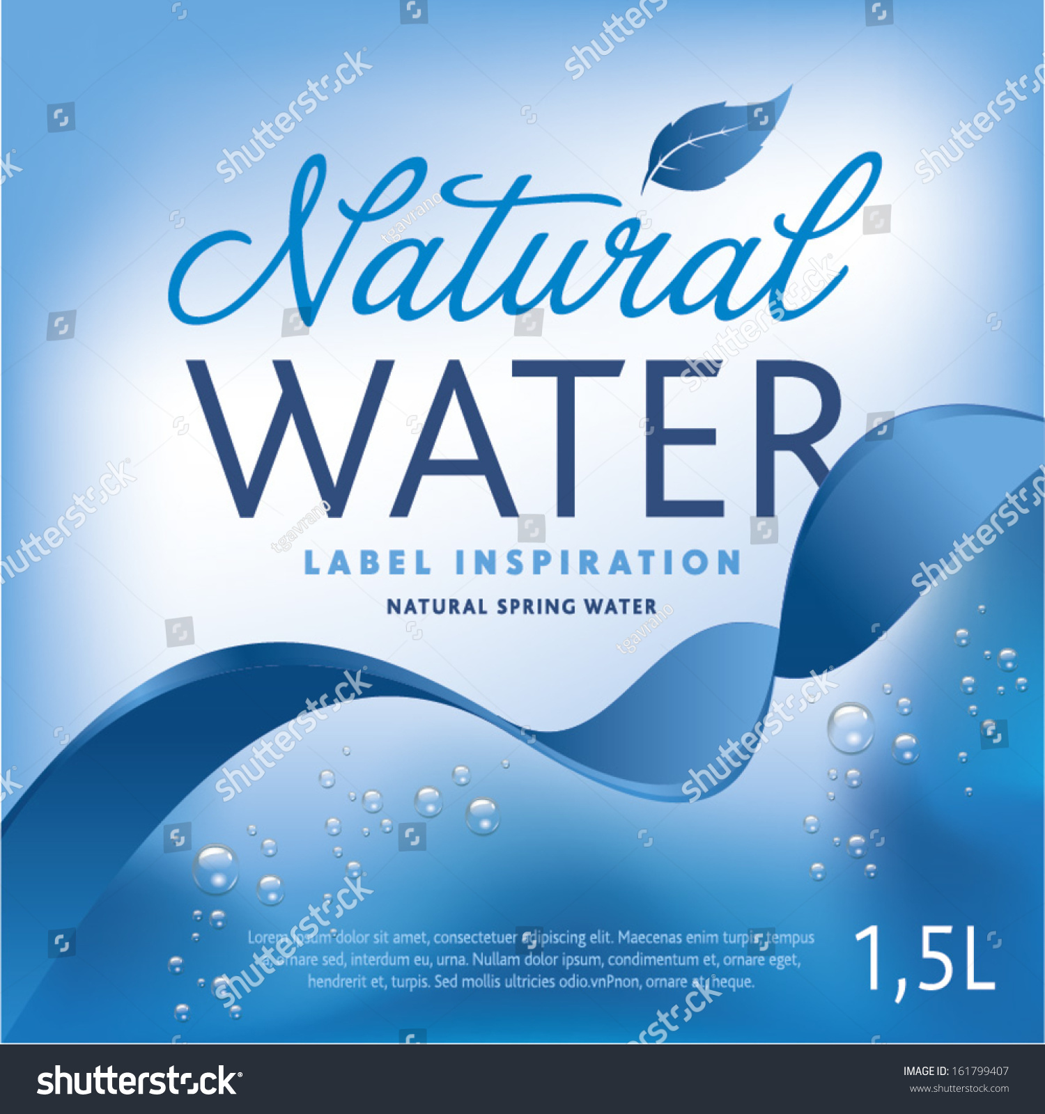 mineral water label template - water label on light blue background stock vector