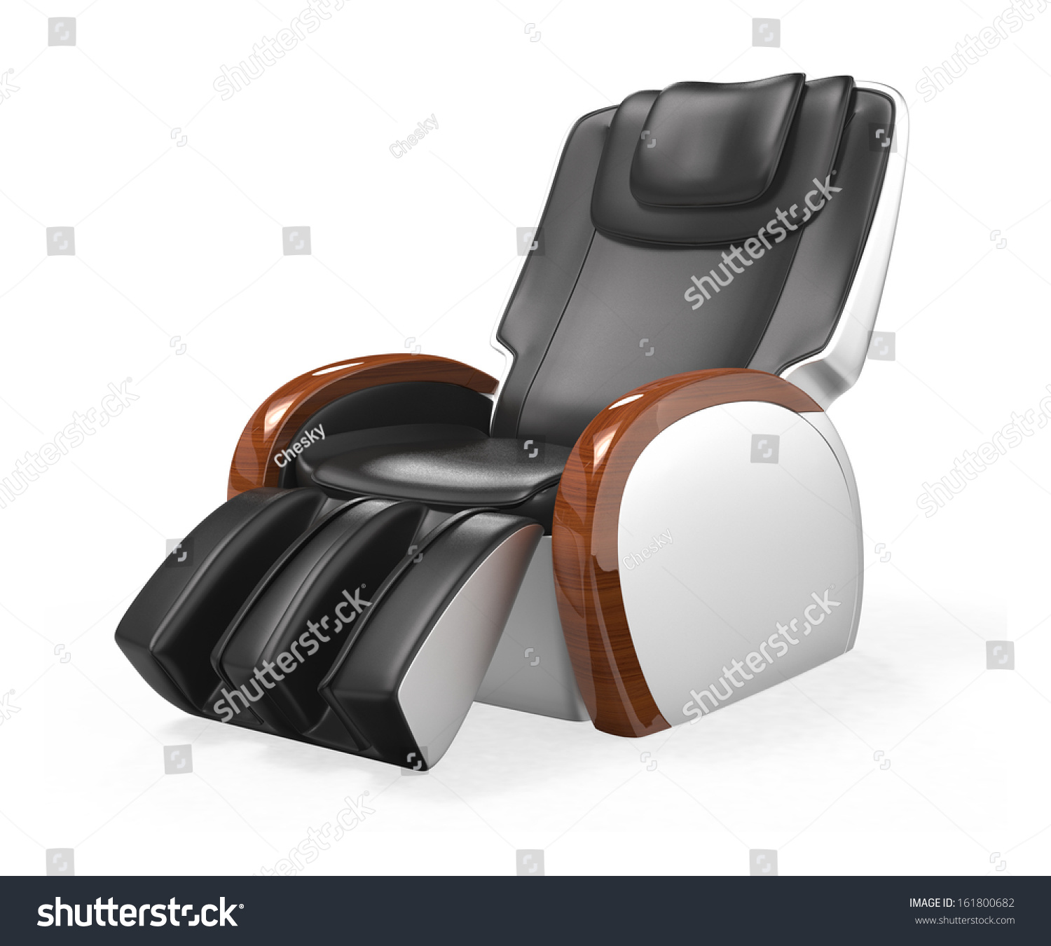 Black fortable Leather Reclining Massage Chair Stock