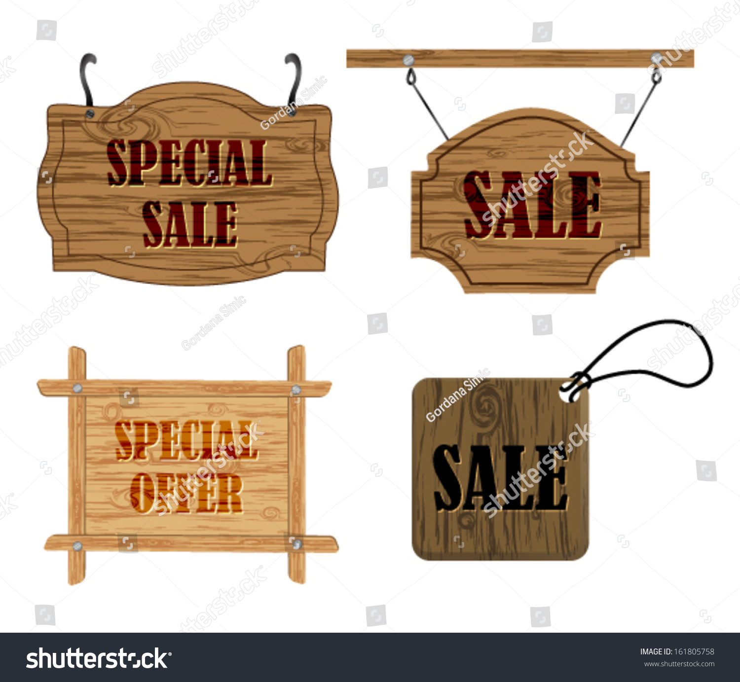 hanging wooden sale signs vector eps10 161805758