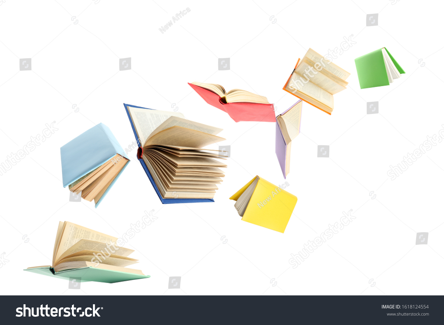 Colorful hardcover books flying on white background #1618124554