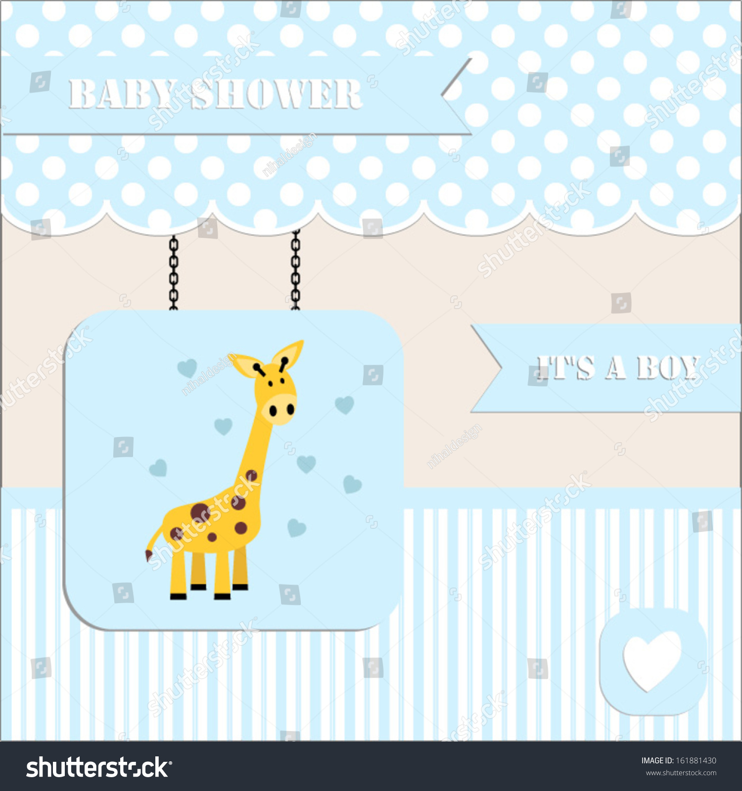 Baby Shower Invitation Baby Boy Polka Stock Vector 161881430 ...