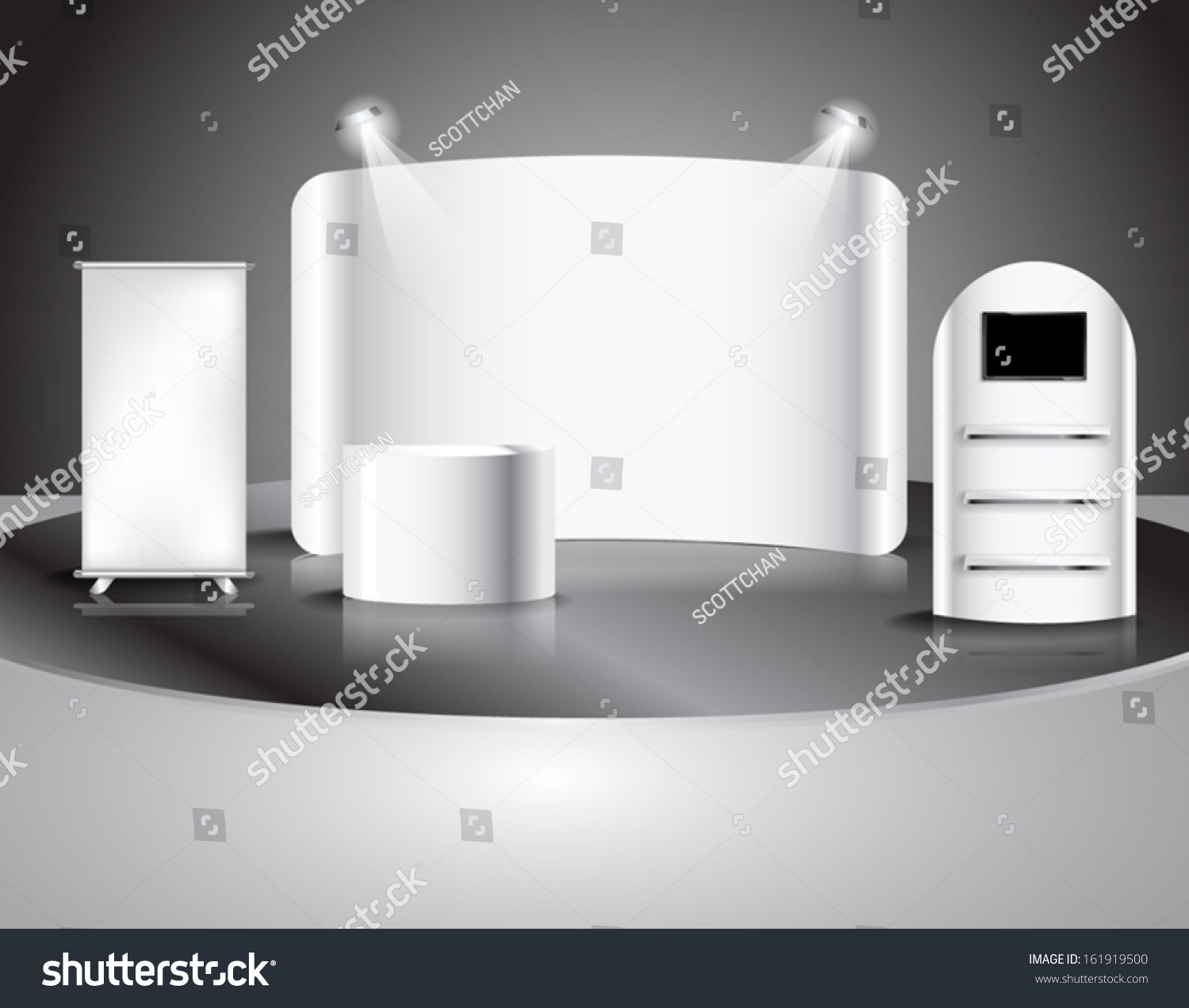 Exhibition Booth Vector : Blank trade show booth illustration vector stock