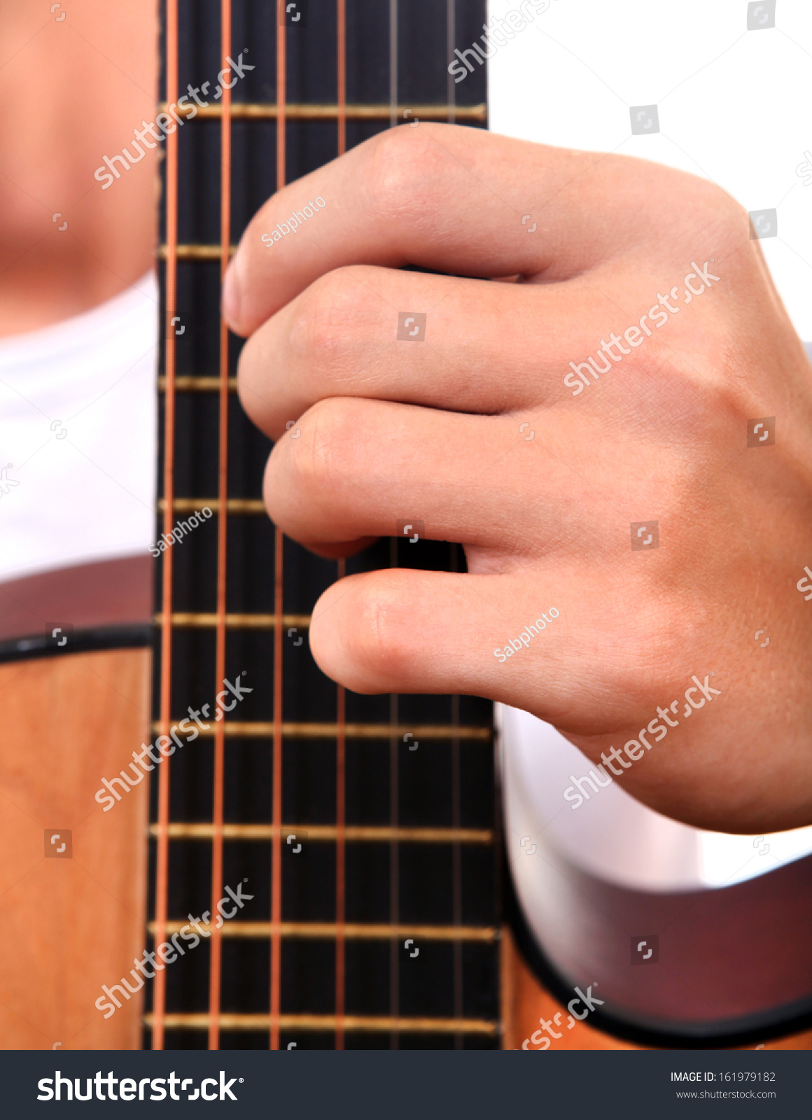 Hand Play Chord On Acoustic Guitar Stock Photo Edit Now 161979182