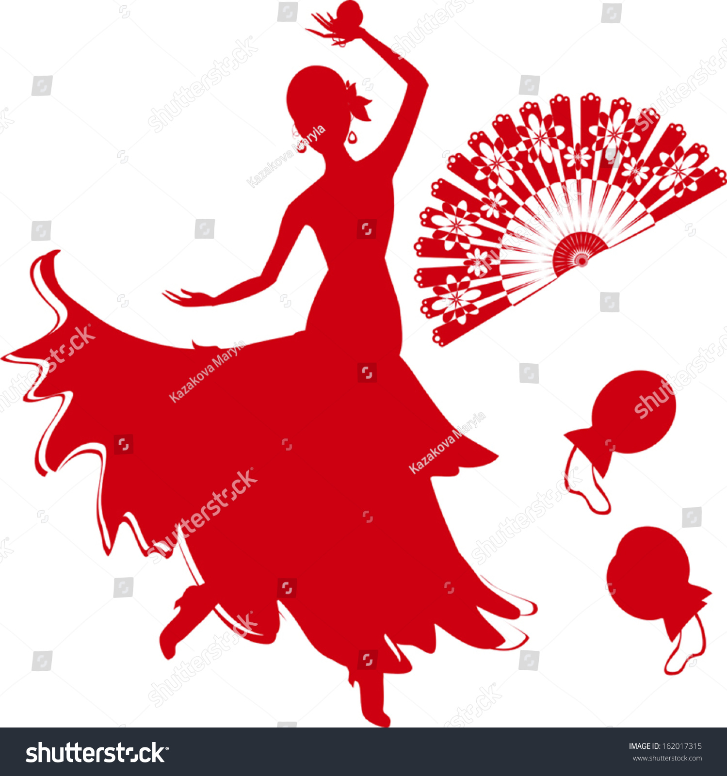 silhouette flamenco dancer fan castanets stock vector 162017315