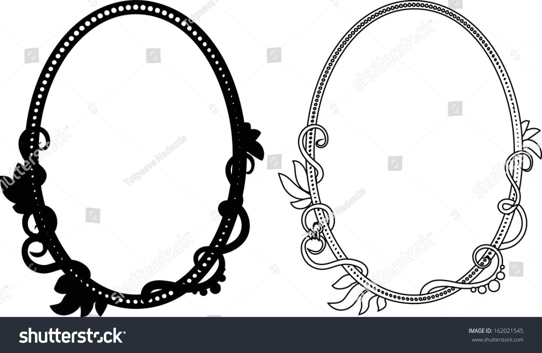 vintage oval black and white frames
