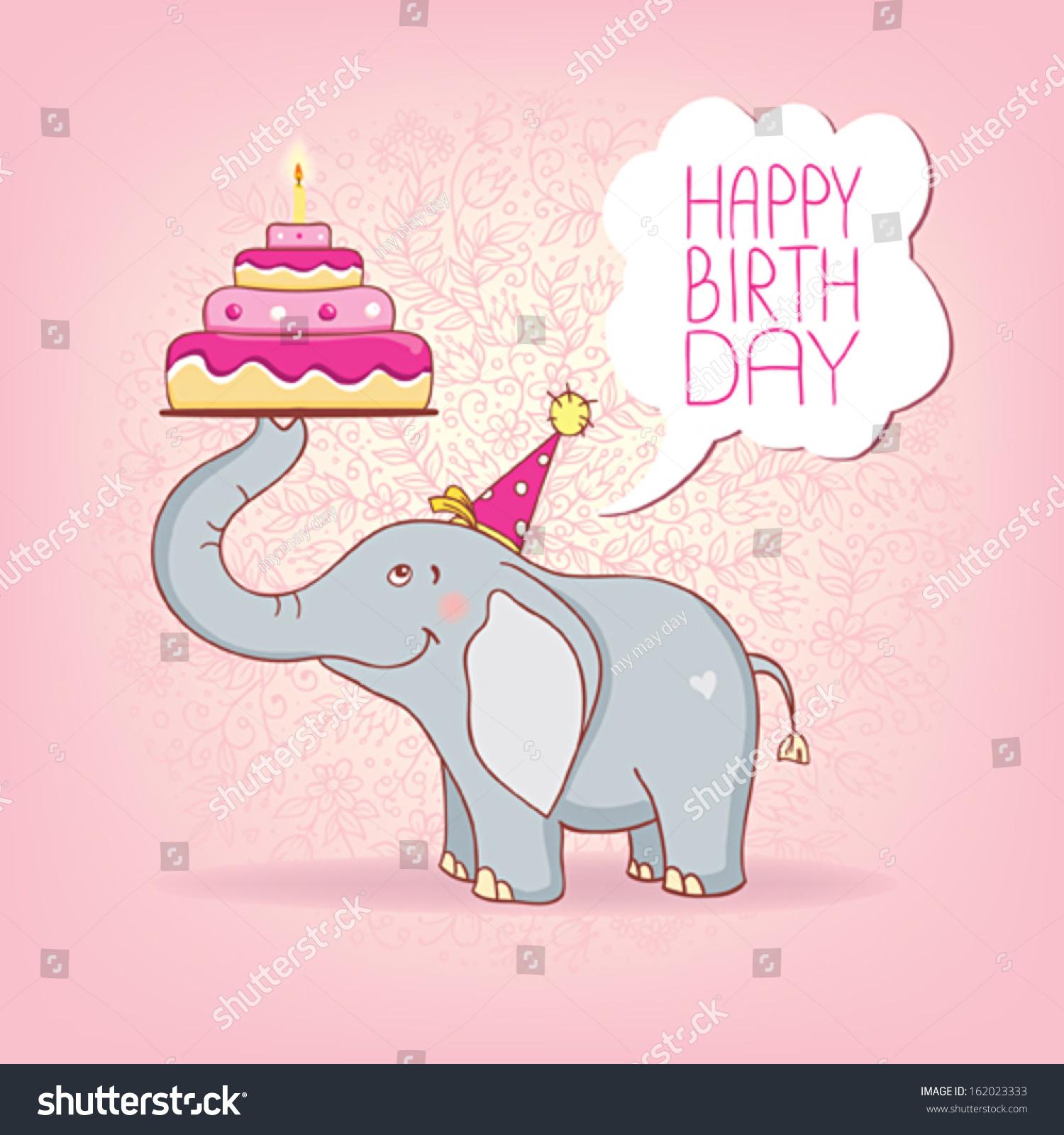 Elephant Birthday Cards gangcraftnet – Little Girl Birthday Cards
