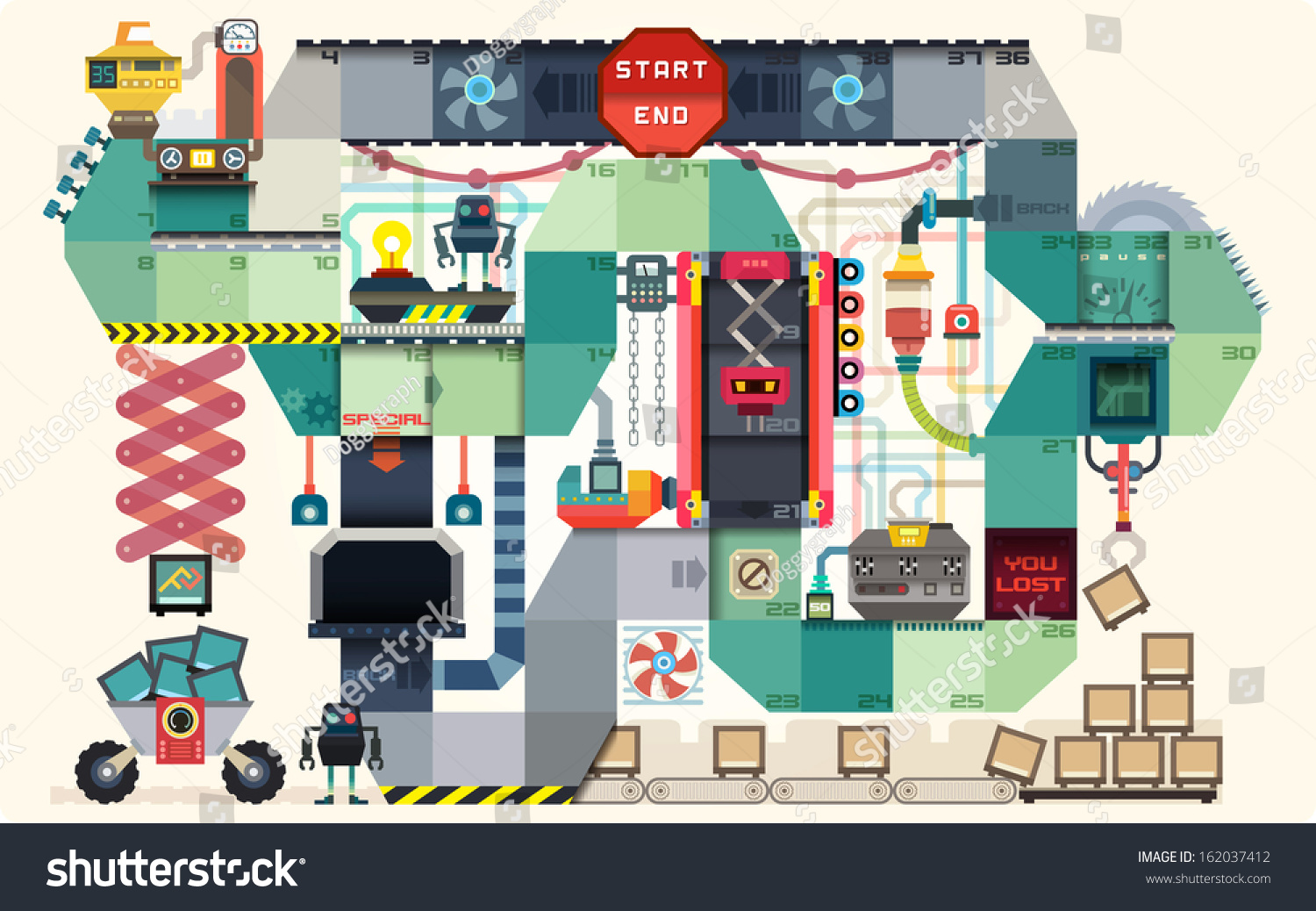 Robot Factory Board Game Kids Infographics Stock Vector 162037412 - Shutterstock