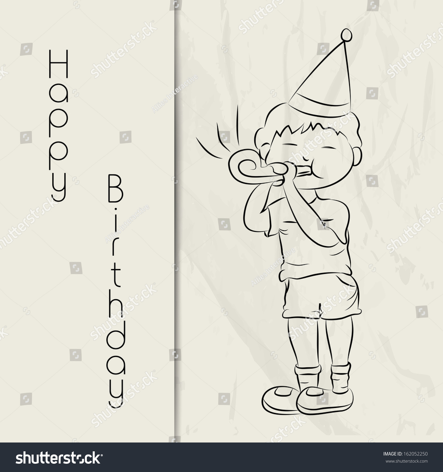 Happy birthday greeting card gift card stock photo photo vector happy birthday greeting card or gift card with sketch of a cute little boy in bookmarktalkfo Gallery