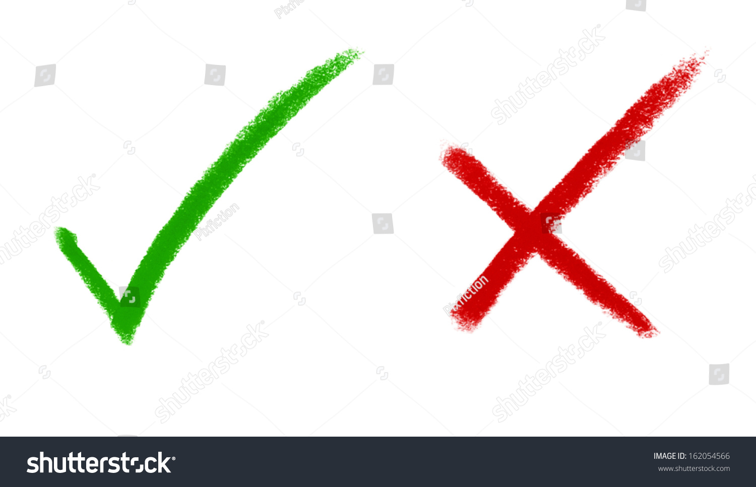 Right And Wrong  Tick Mark And Cross Mark Signs Stock Photo 162054566