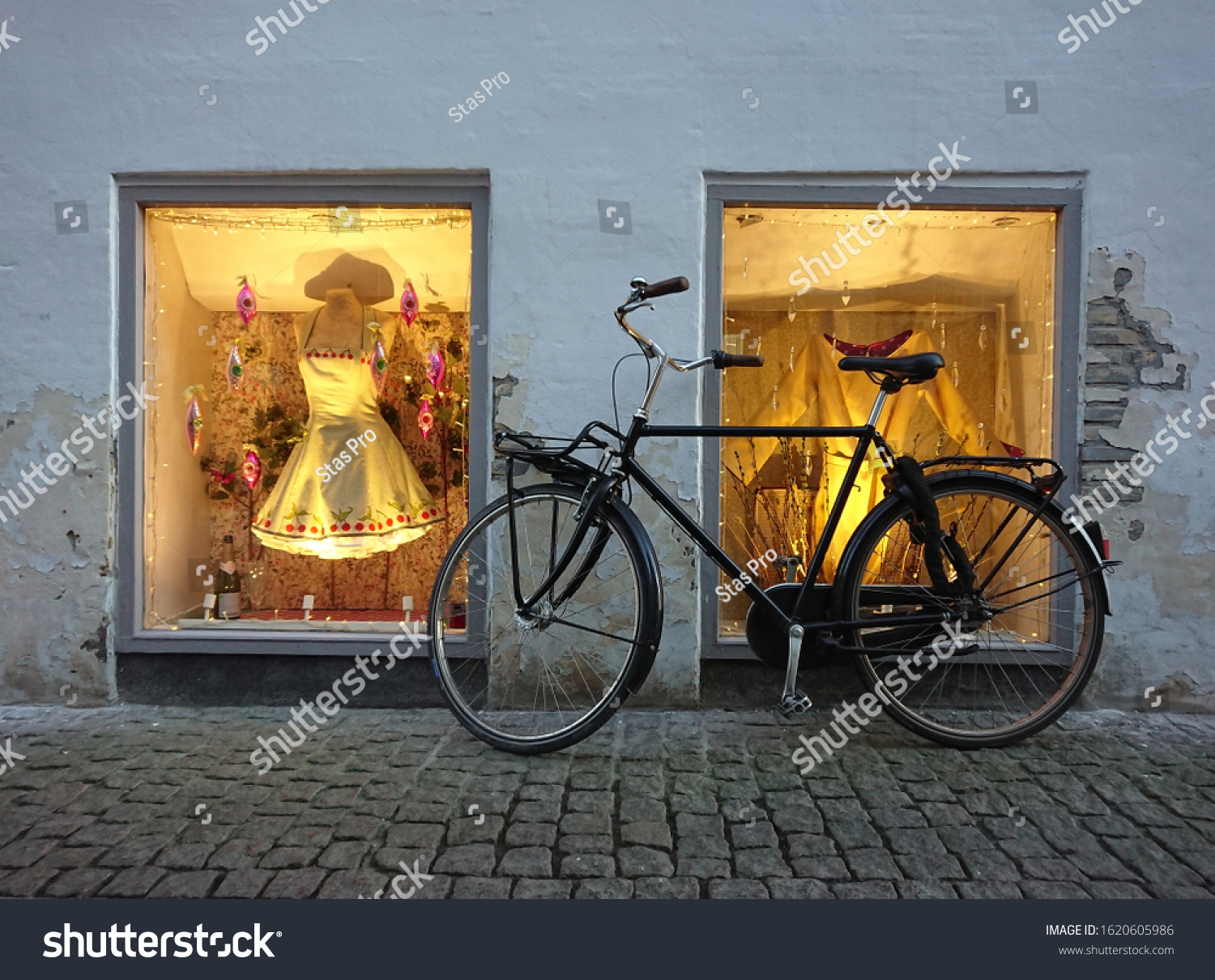 stock-photo-black-bicycle-parked-near-th